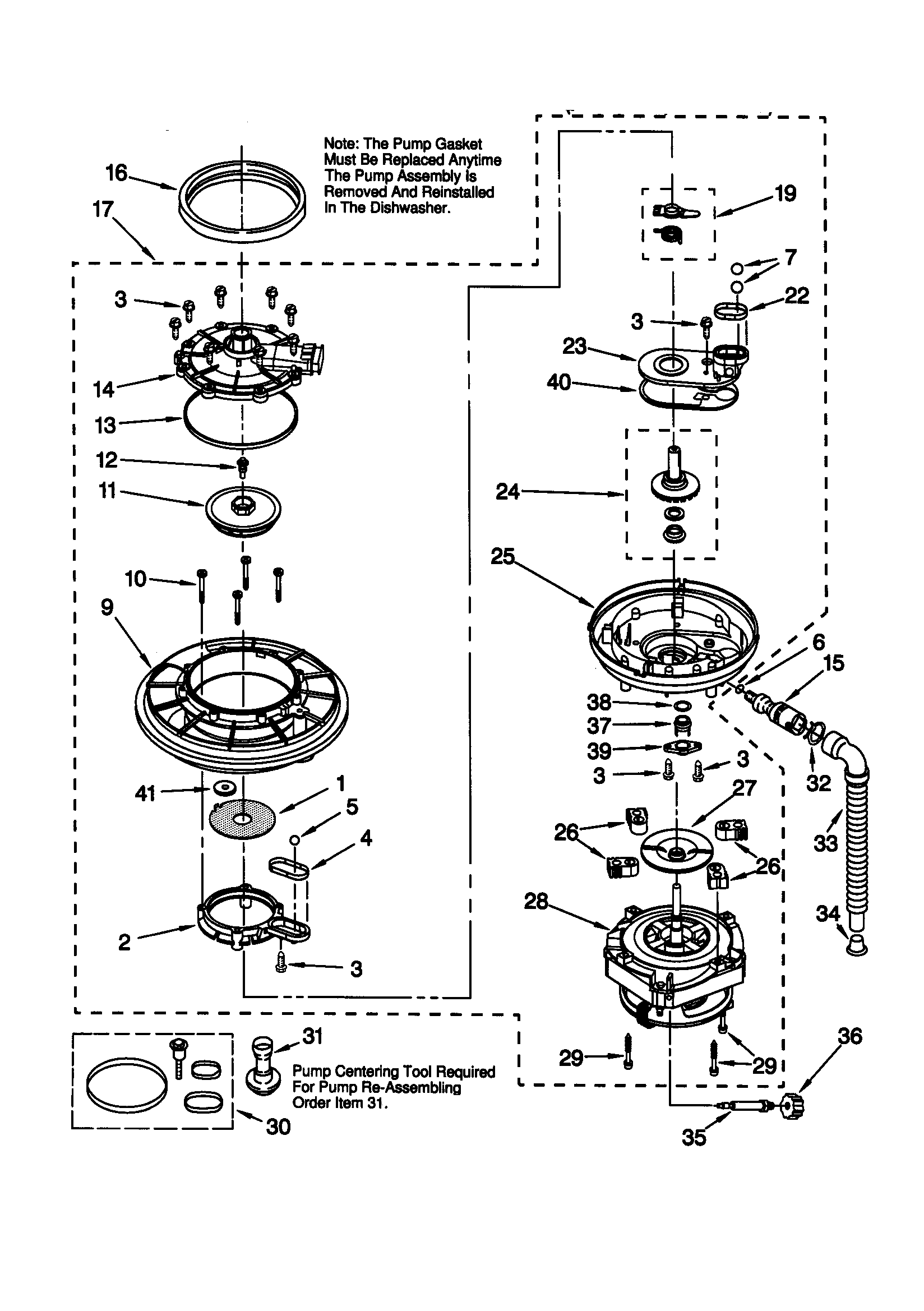 PUMP AND MOTOR Diagram & Parts List for Model 66515989990