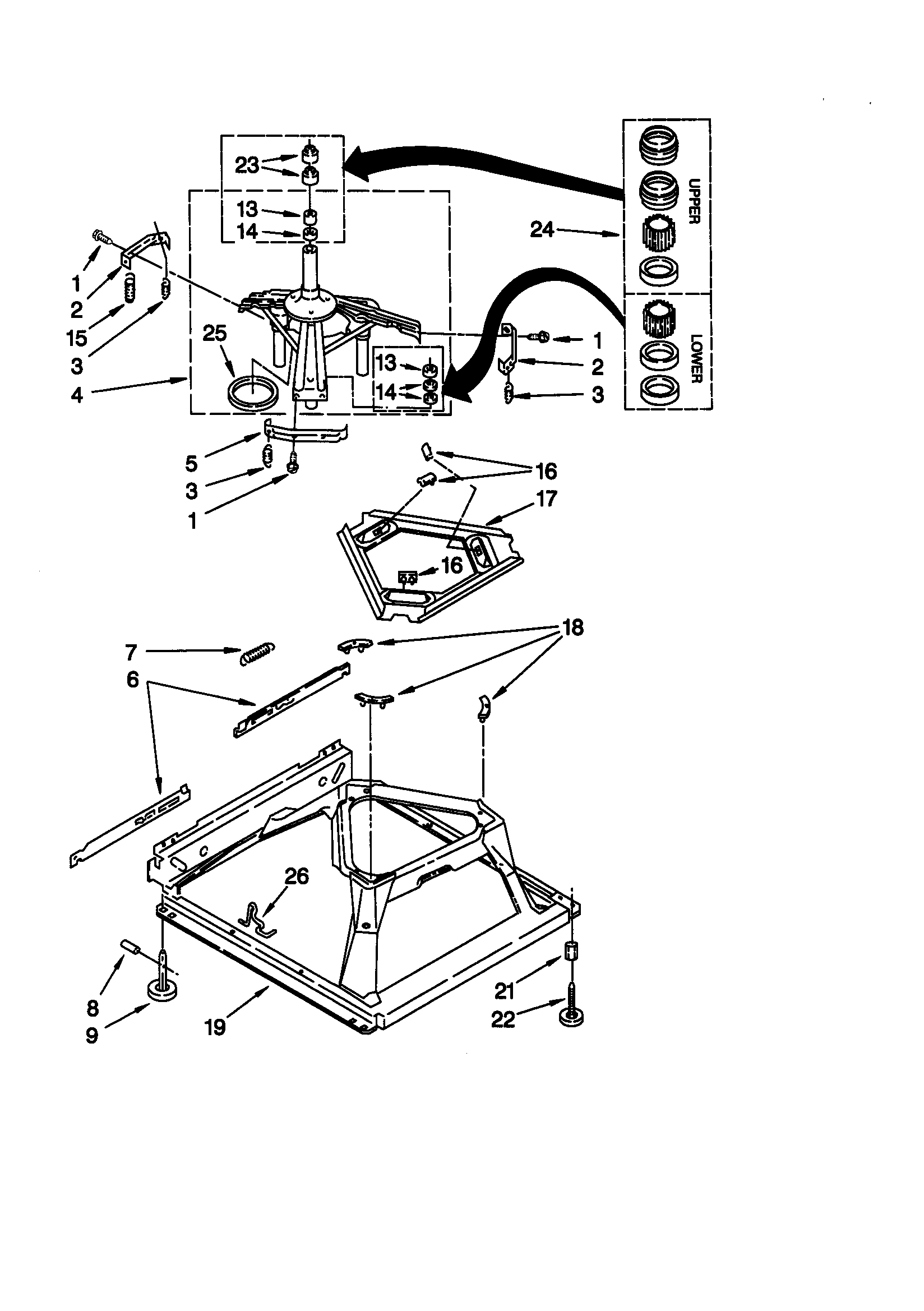 MACHINE BASE Diagram & Parts List for Model 11020842990