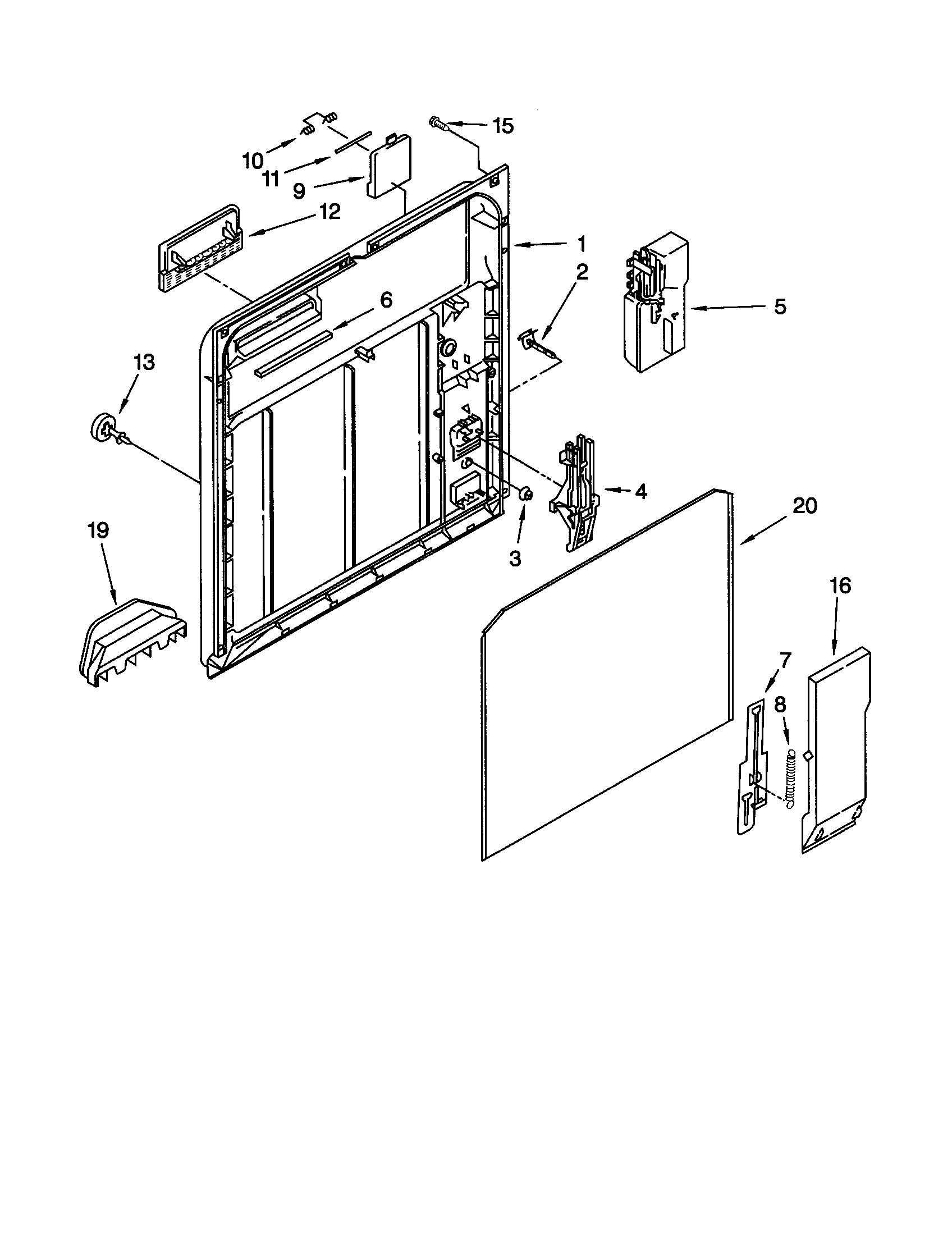 INNER DOOR Diagram & Parts List for Model du920pfgq3