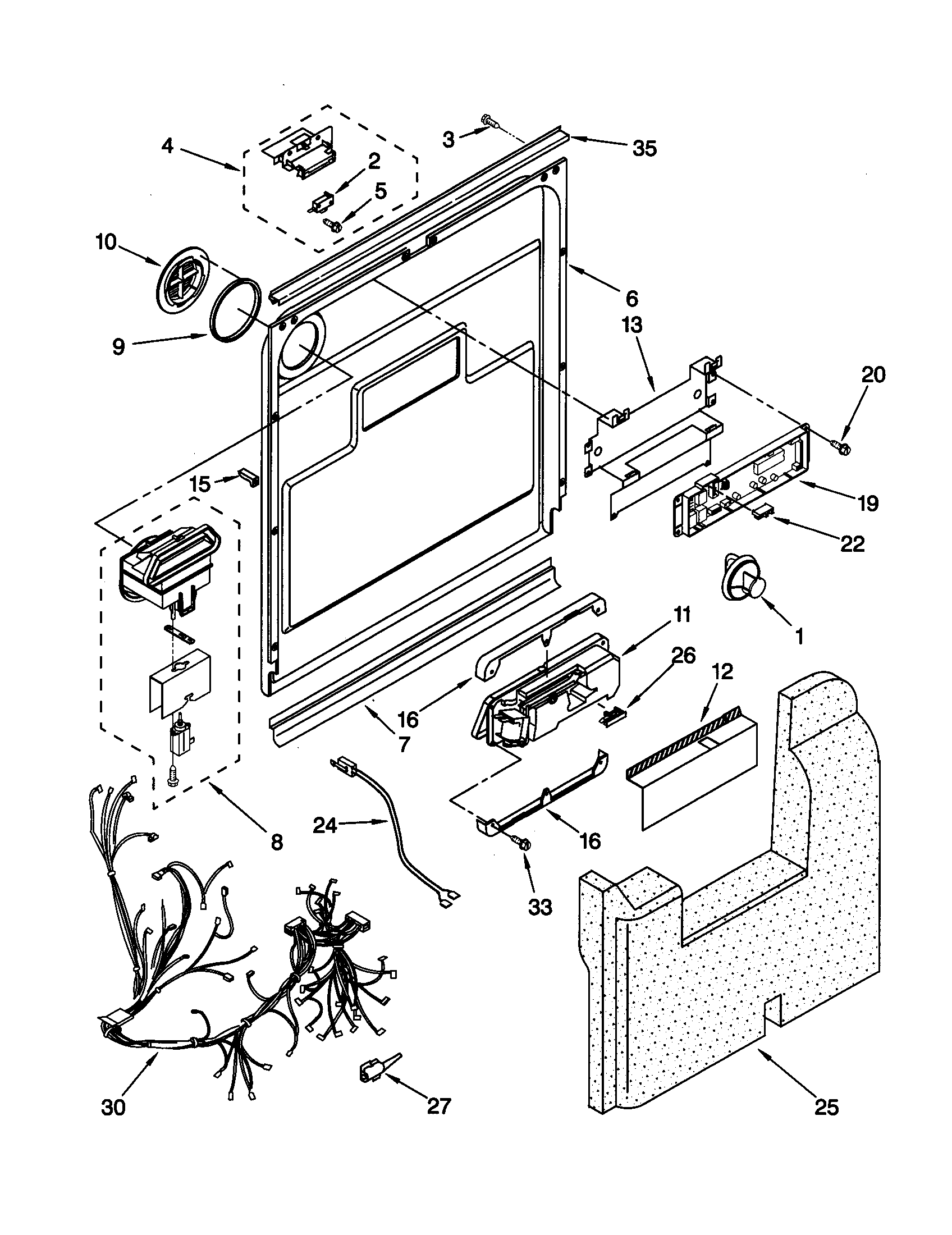 DOOR AND LATCH Diagram & Parts List for Model kuds24sewh5
