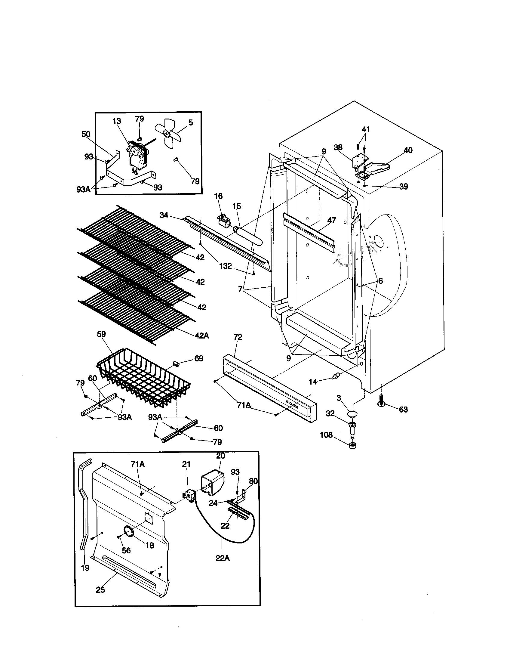 CABINET Diagram & Parts List for Model 2539287413 Kenmore