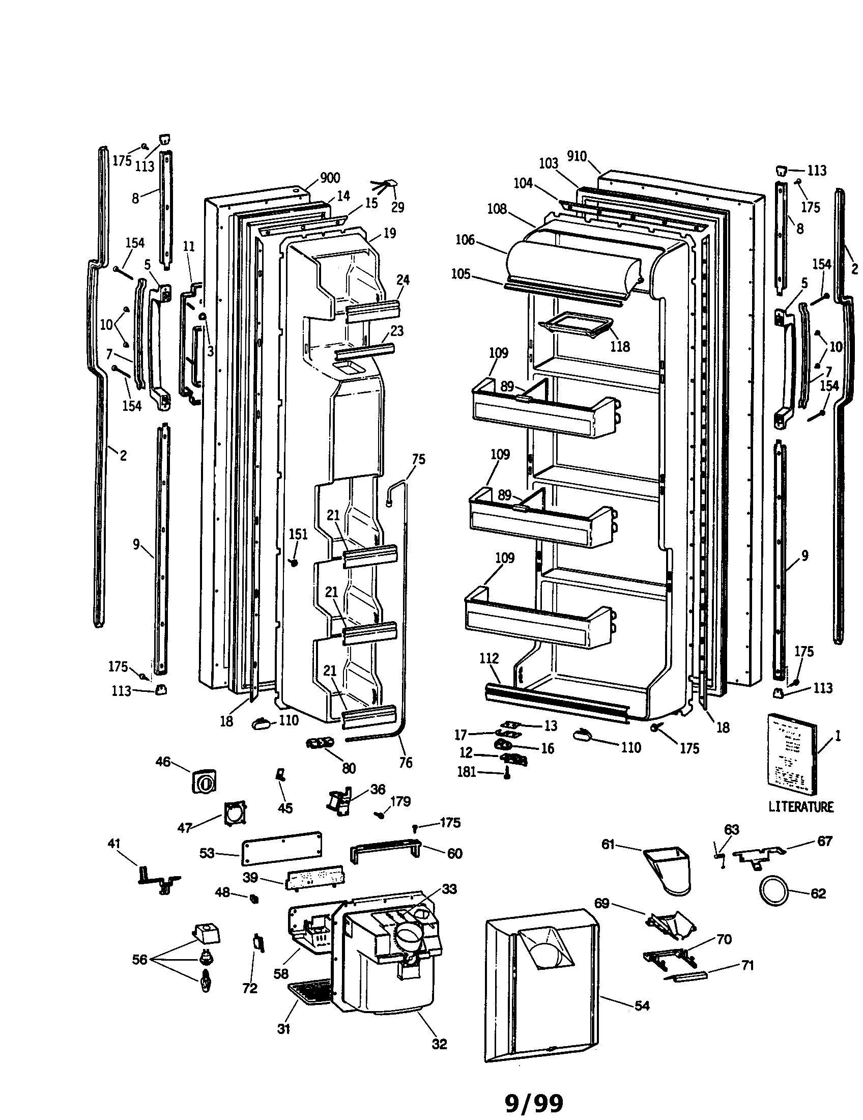 Refrigerator Parts: Ge Side By Side Refrigerator Parts Diagram