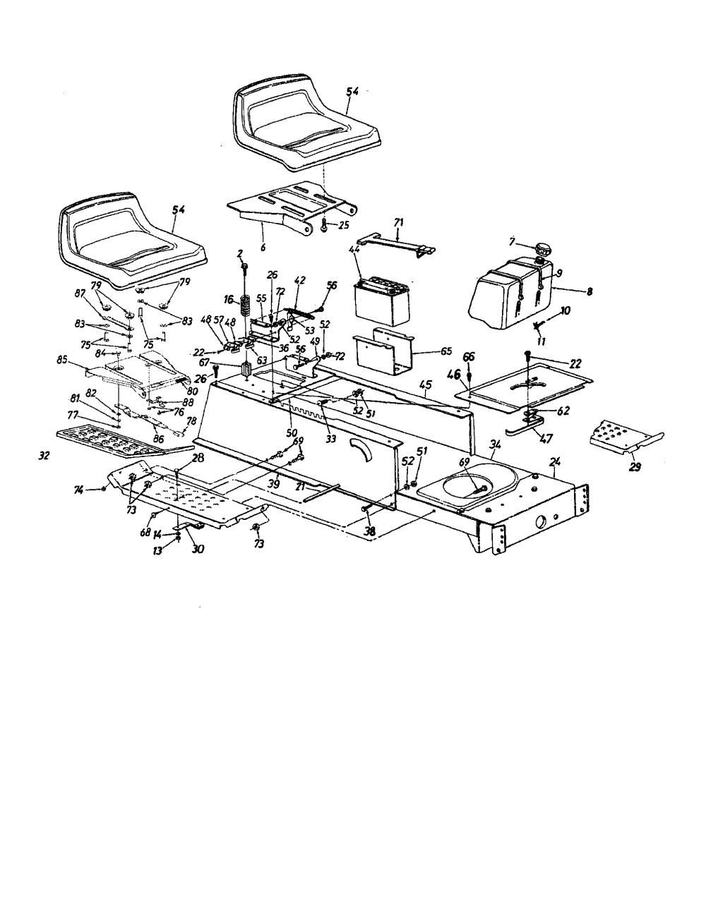 medium resolution of mtd 13ah665f020 frame seat fuel tank diagram
