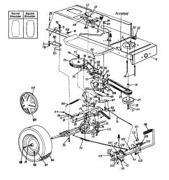 mtd 13ah665f020 wheel rear pedal drive lower frame diagram [ 1696 x 2200 Pixel ]