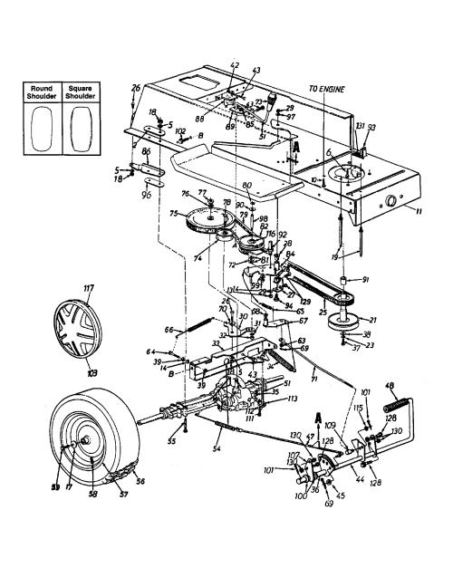small resolution of mtd 13ah665f020 wheel rear pedal drive lower frame diagram