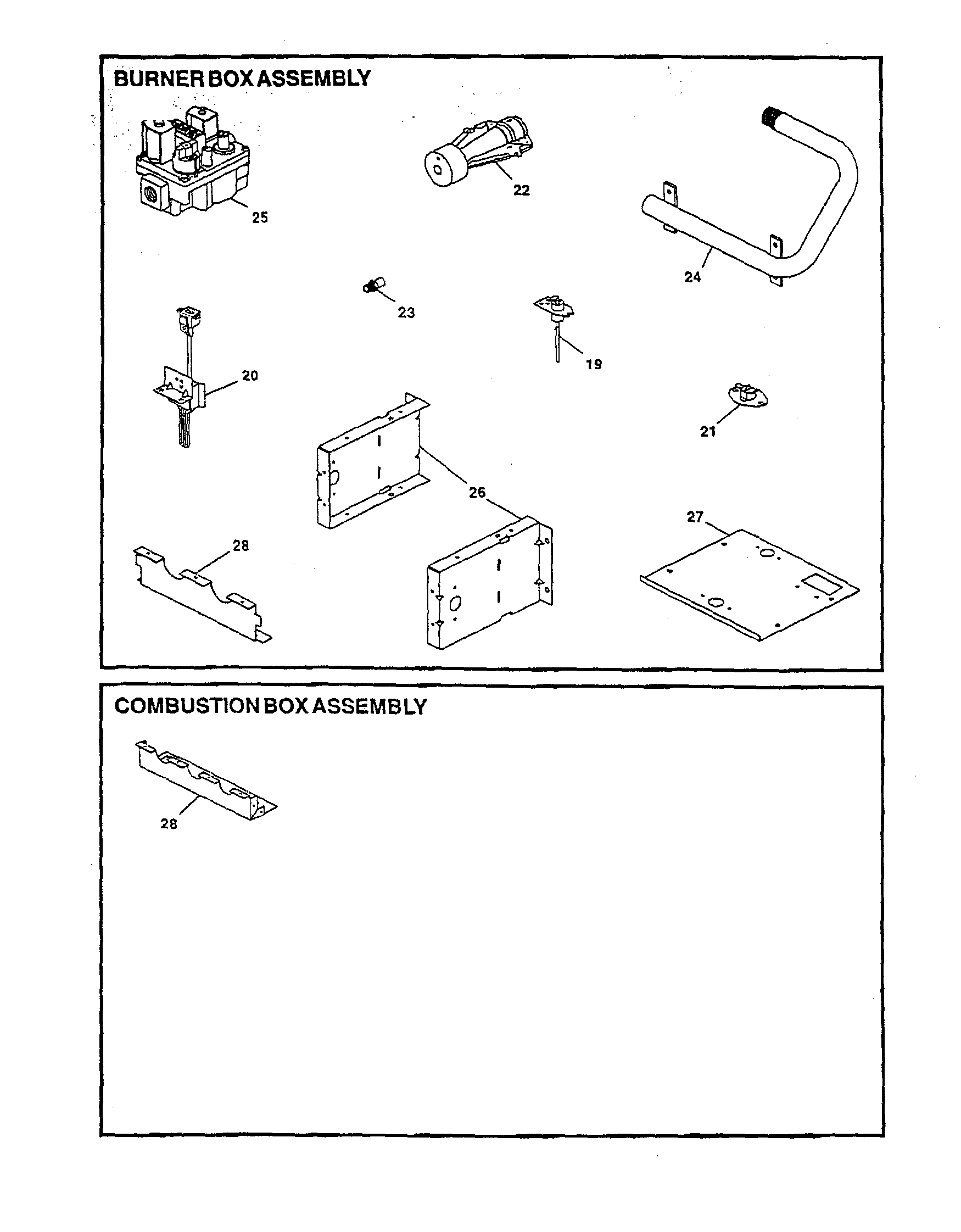 BURNER/COMBUSTION BOX ASSEMBLY Diagram & Parts List for