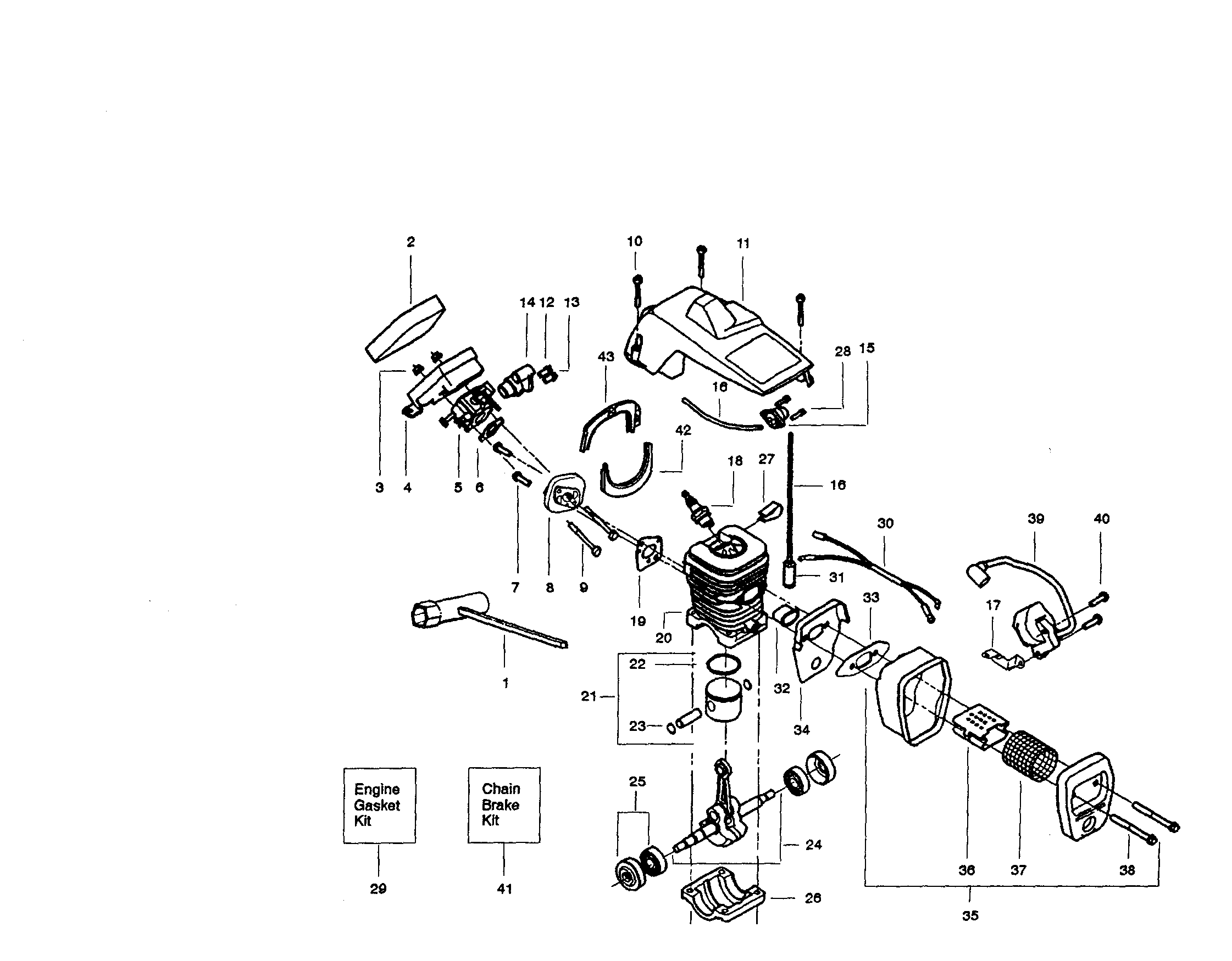 [WRG-7916] Craftsman 42cc Chainsaw Carburetor Engine Diagram