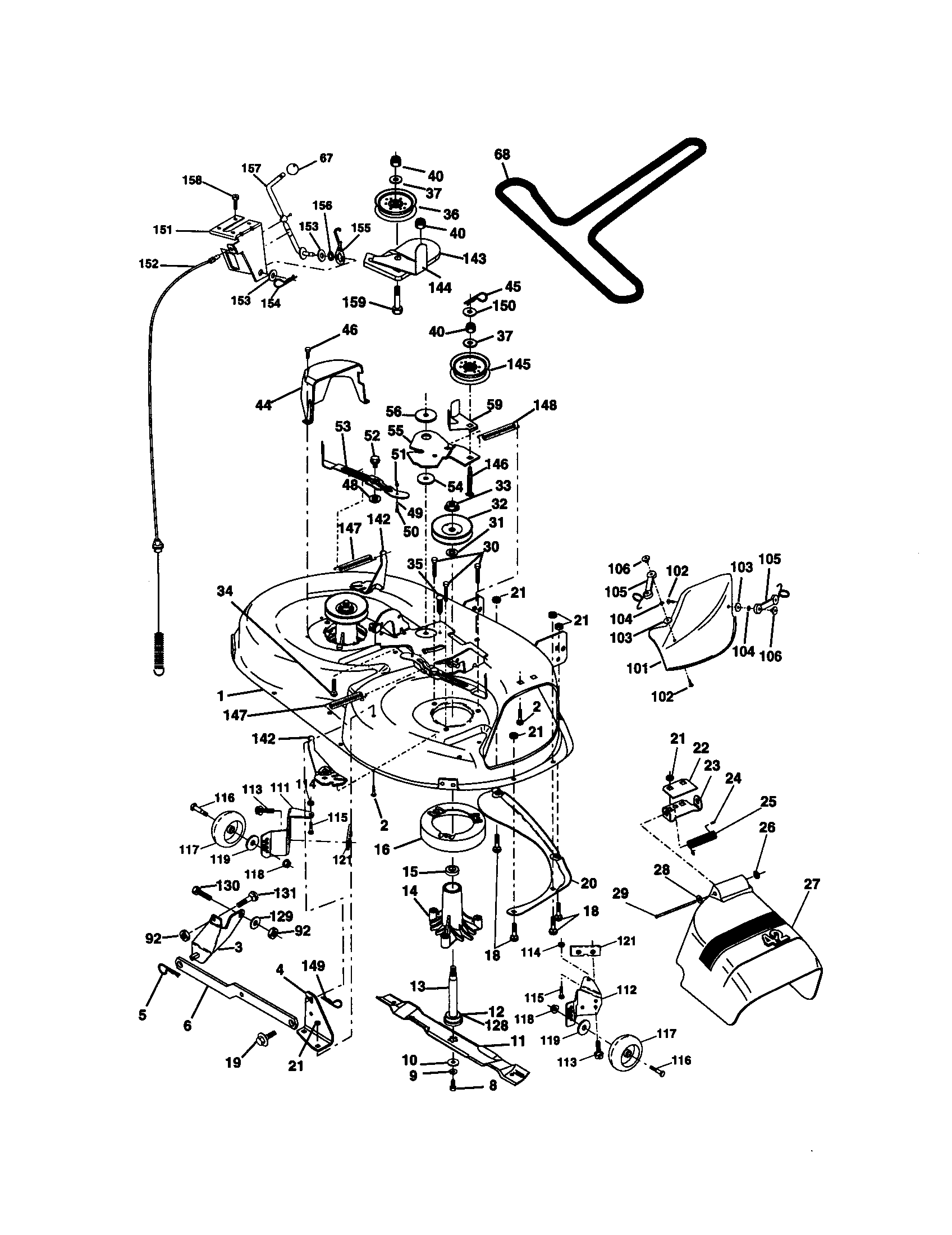 hight resolution of craftsman 917270912 mower deck diagram