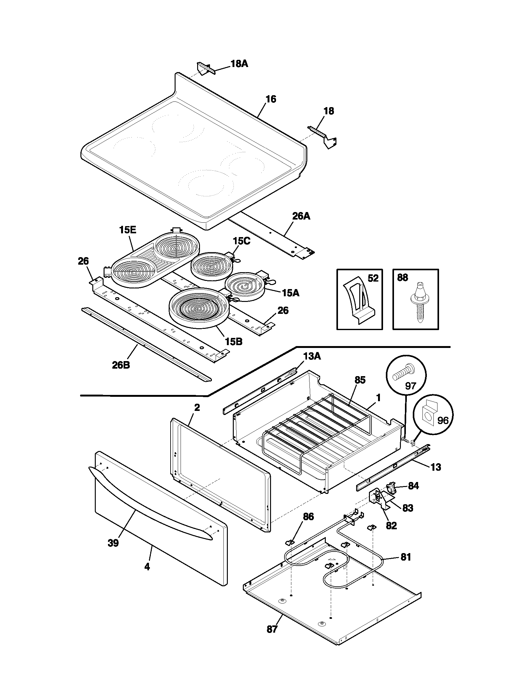 TOP/DRAWER Diagram & Parts List for Model plef398aca