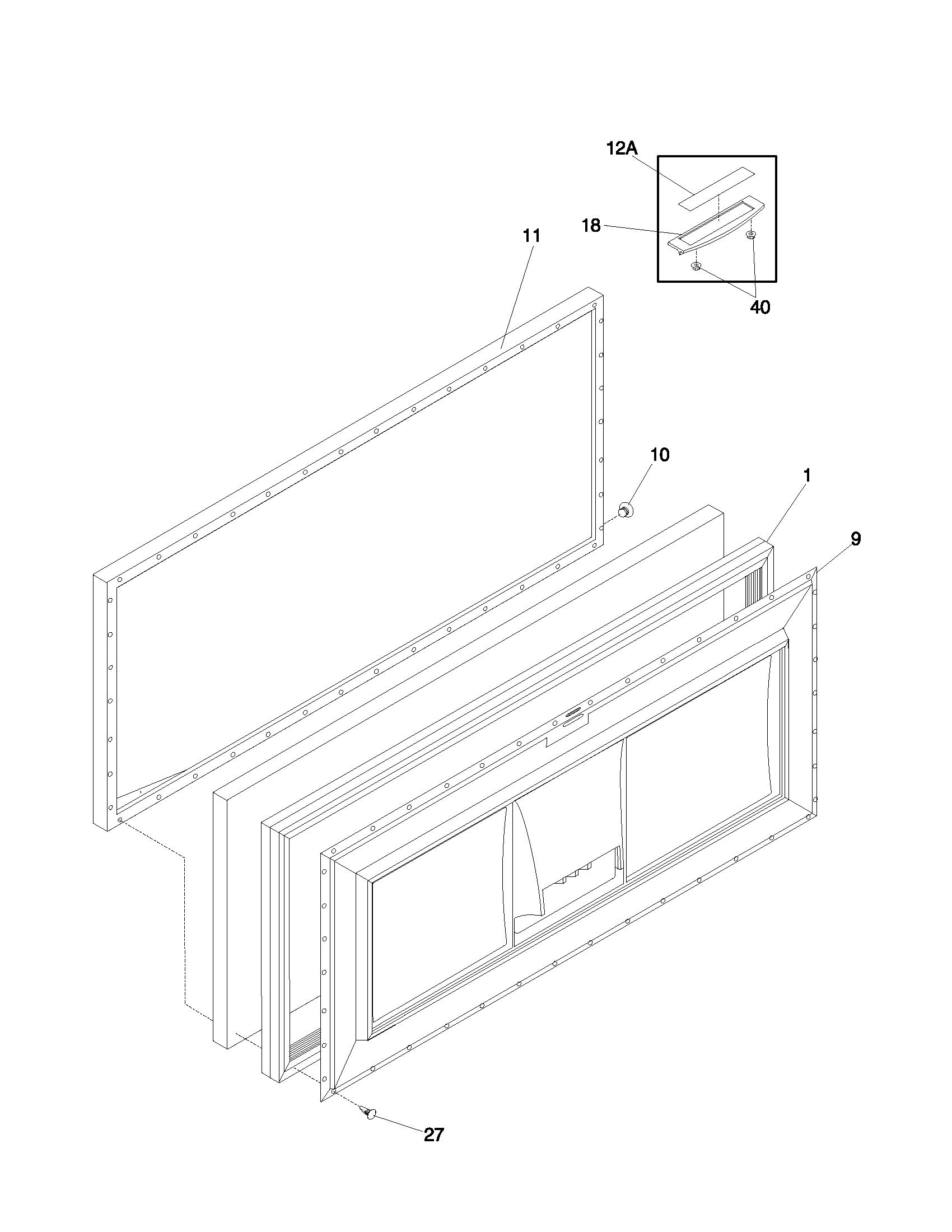 DOOR Diagram & Parts List for Model ffc09c3aw1 Frigidaire