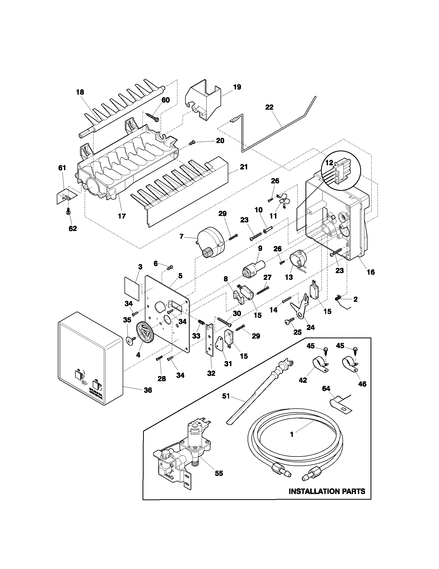 ICE MAKER Diagram & Parts List for Model 25371132105