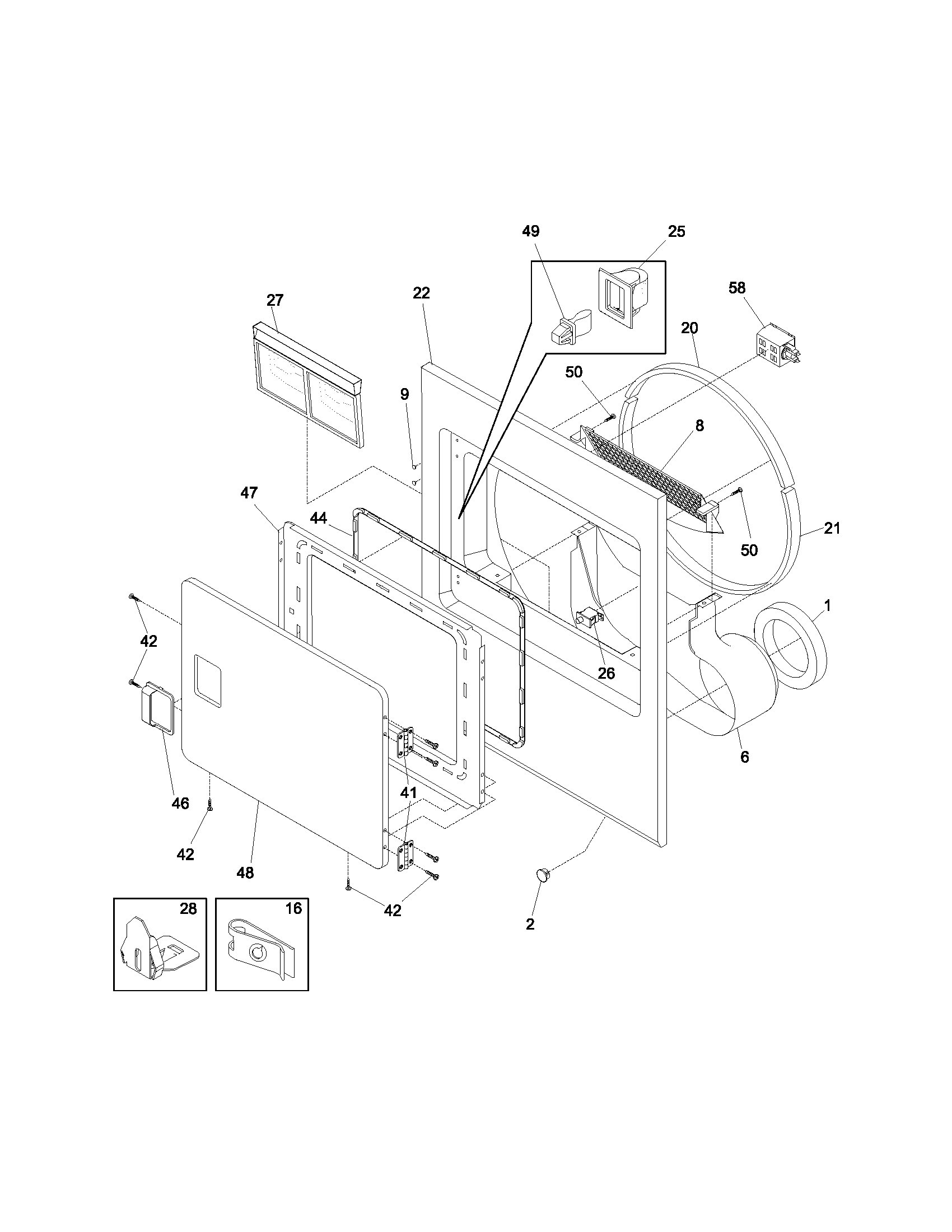 FRNT PNL,DOOR Diagram & Parts List for Model gler341as1