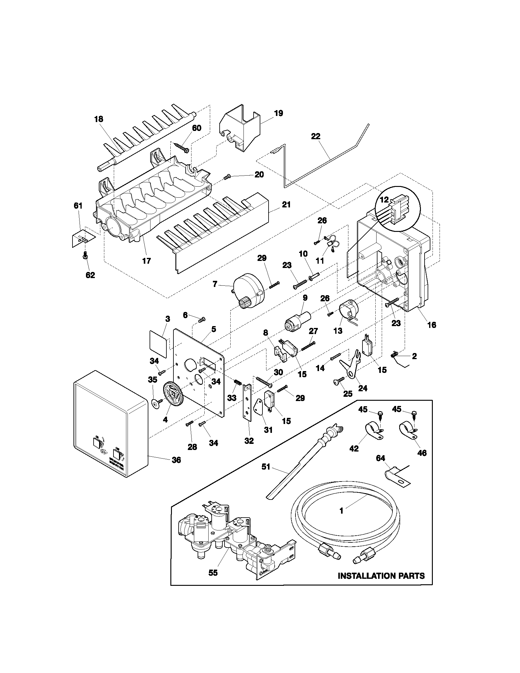 ICE MAKER Diagram & Parts List for Model 25353322300