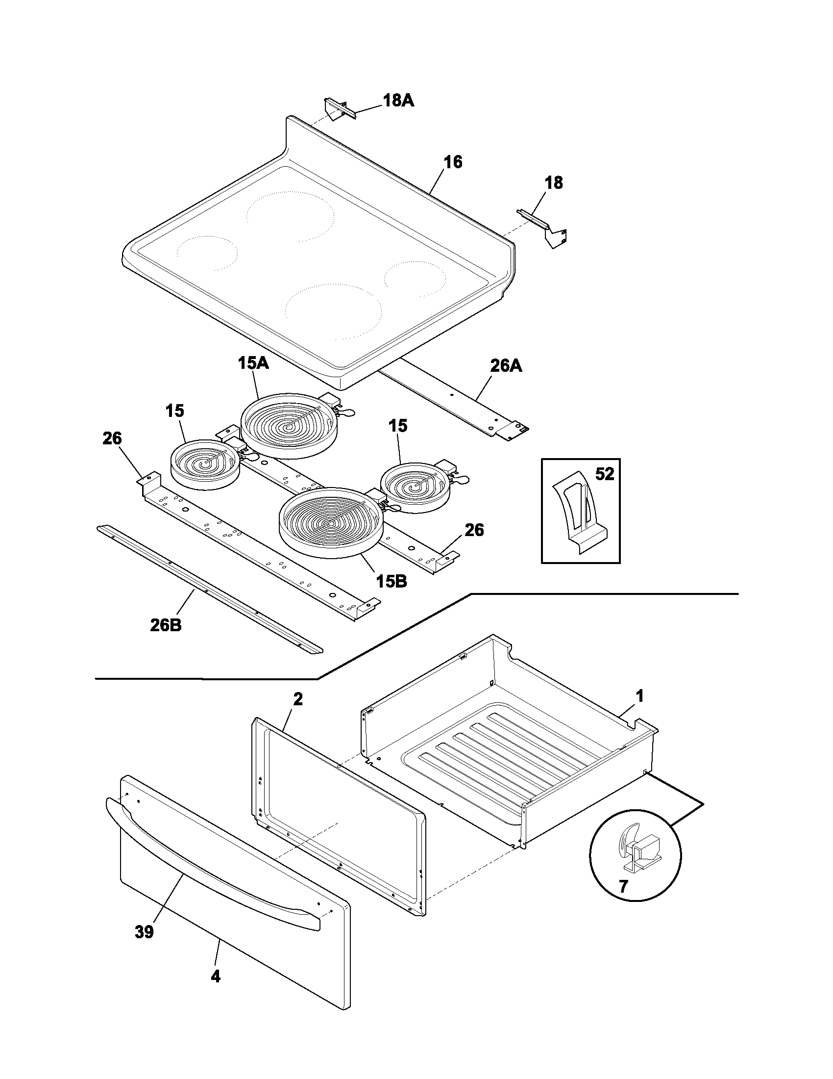 hight resolution of frigidaire fef336bcc top drawer diagram