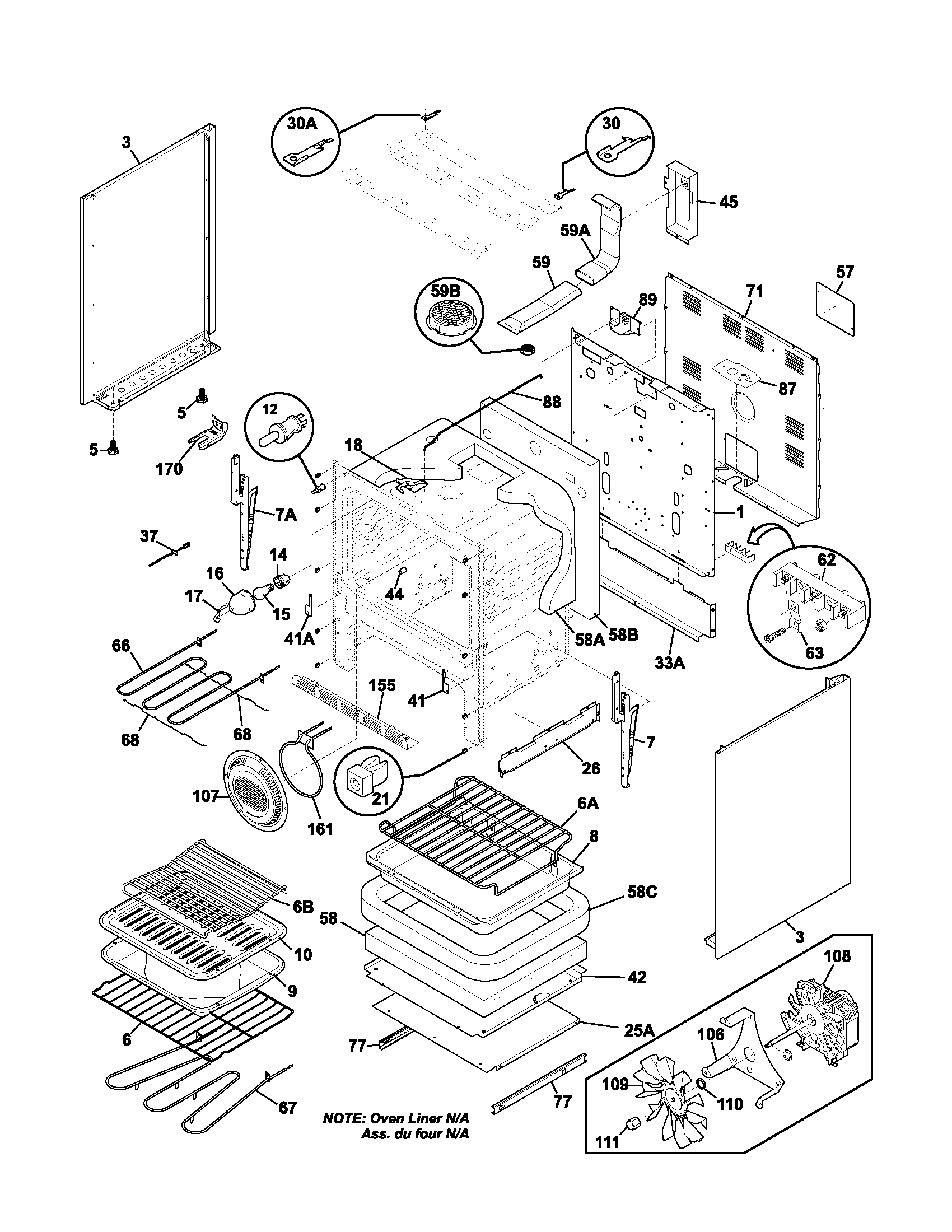 BODY Diagram & Parts List for Model plef398ccb Frigidaire