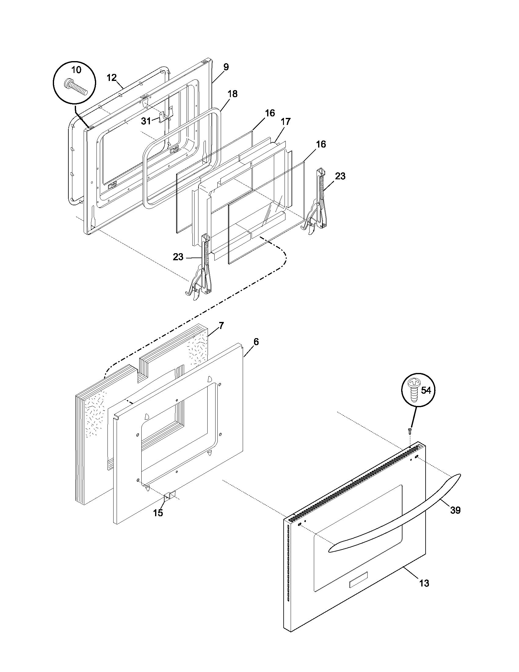 DOOR Diagram & Parts List for Model pleb27t8ccb Frigidaire