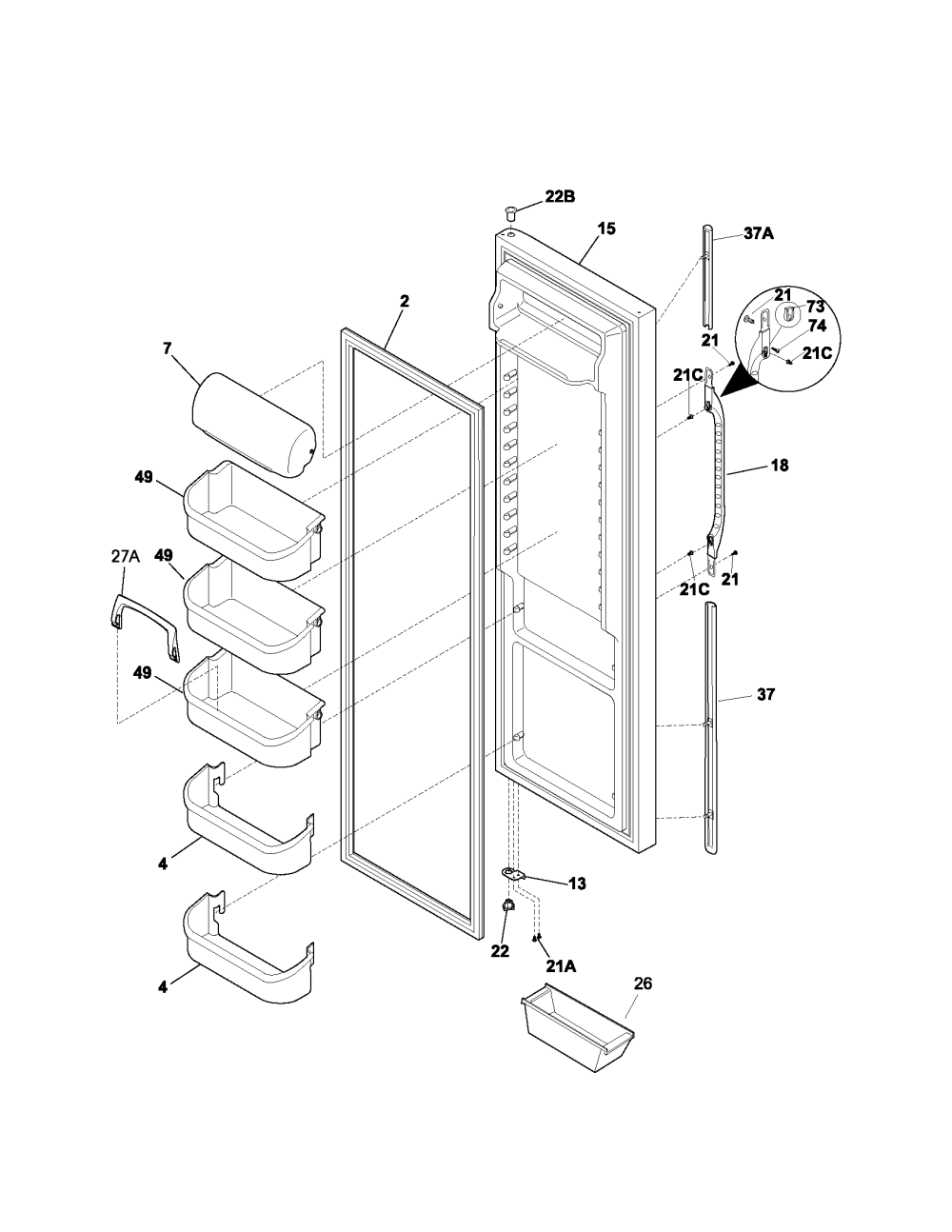 medium resolution of kenmore 25353672302 refrigerator door diagram