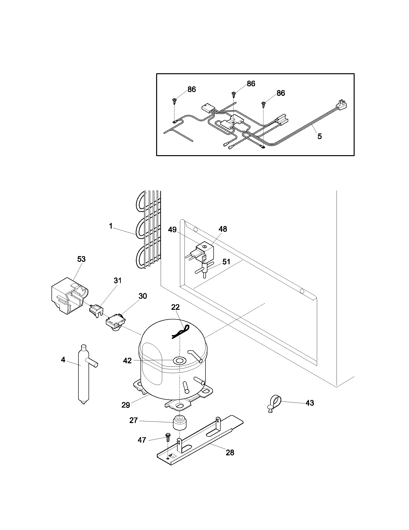 SYSTEM Diagram & Parts List for Model 25313541102 Kenmore