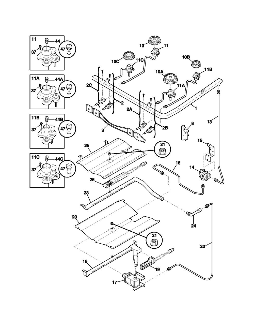 medium resolution of frigidaire model plgf389ccc free standing gas genuine partsfrigidaire gas range wiring diagram 8