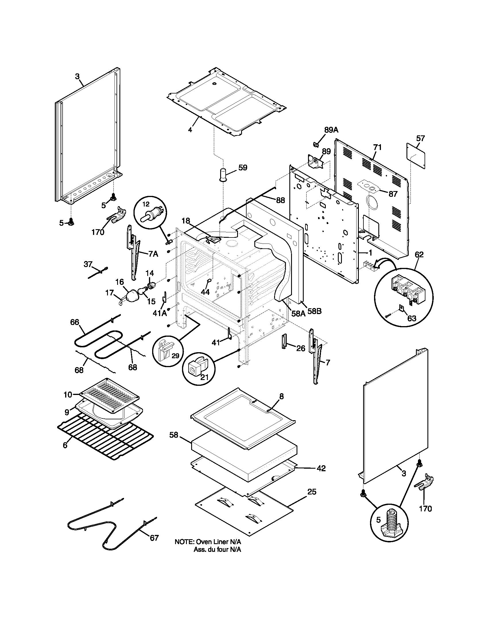 BODY Diagram & Parts List for Model fef351cwb Frigidaire