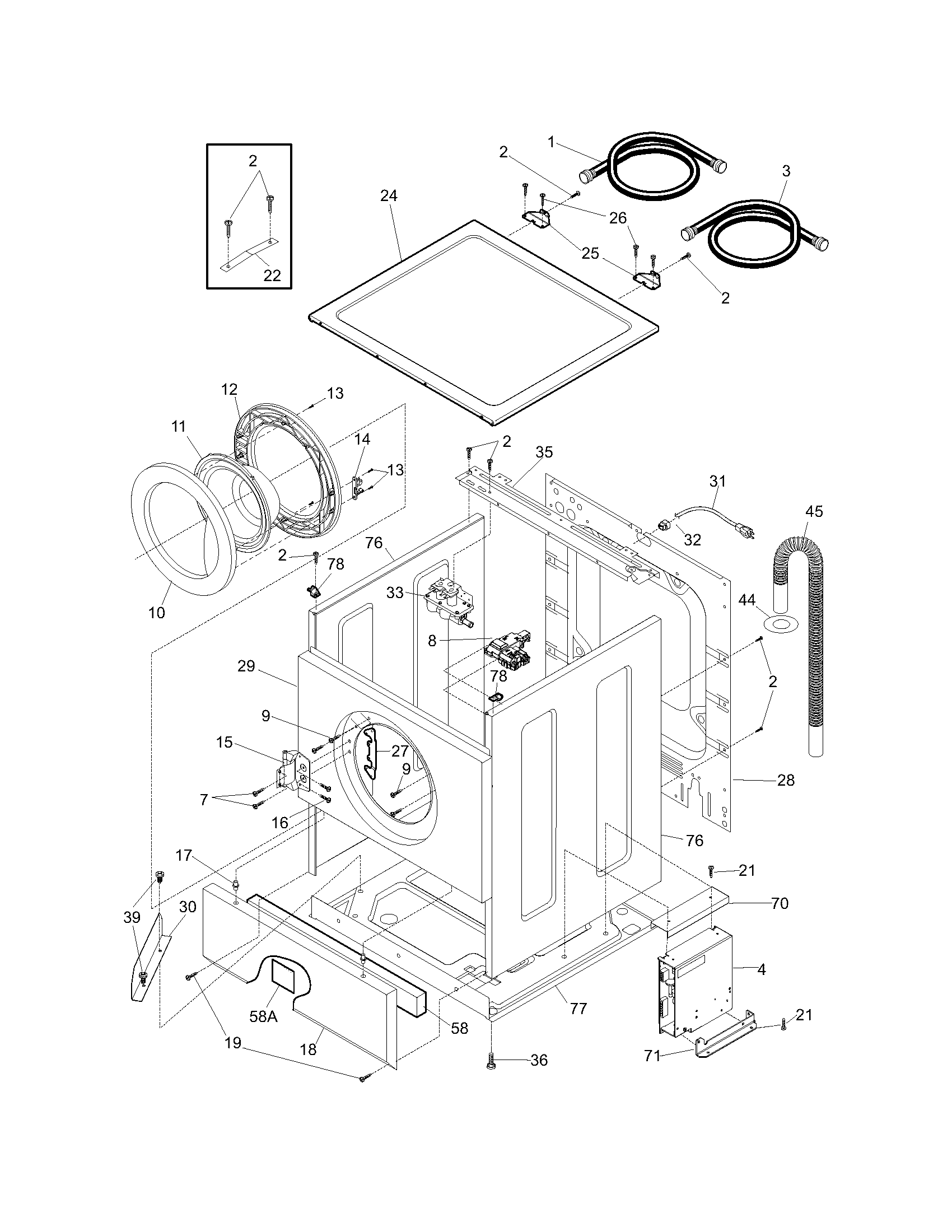 frigidaire front load washer parts diagram 1956 ford car wiring cabinet top model gltf2070ds0