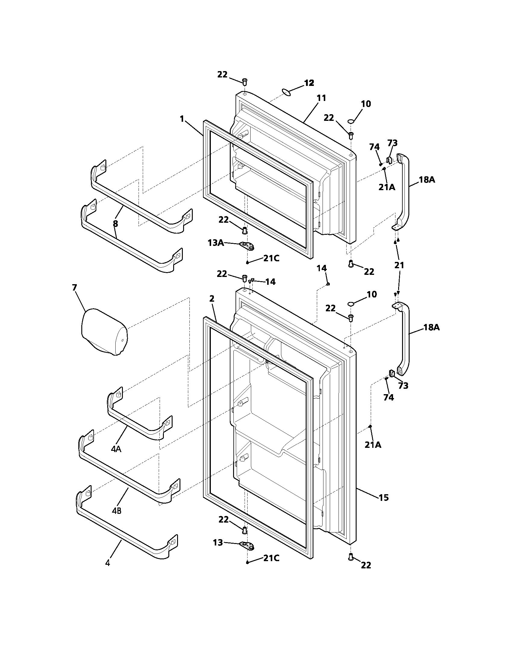 DOOR Diagram & Parts List for Model frt15b3aw5 Frigidaire