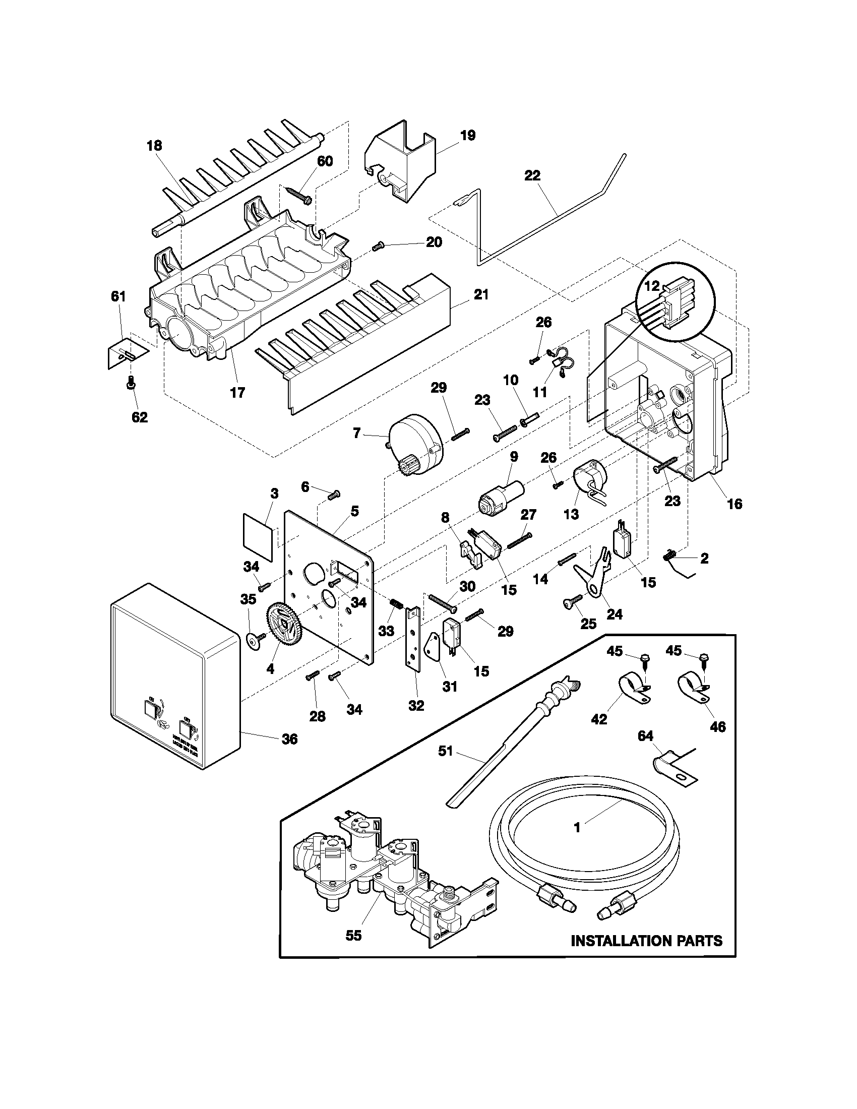 ICE MAKER Diagram & Parts List for Model FRS26R2AWA