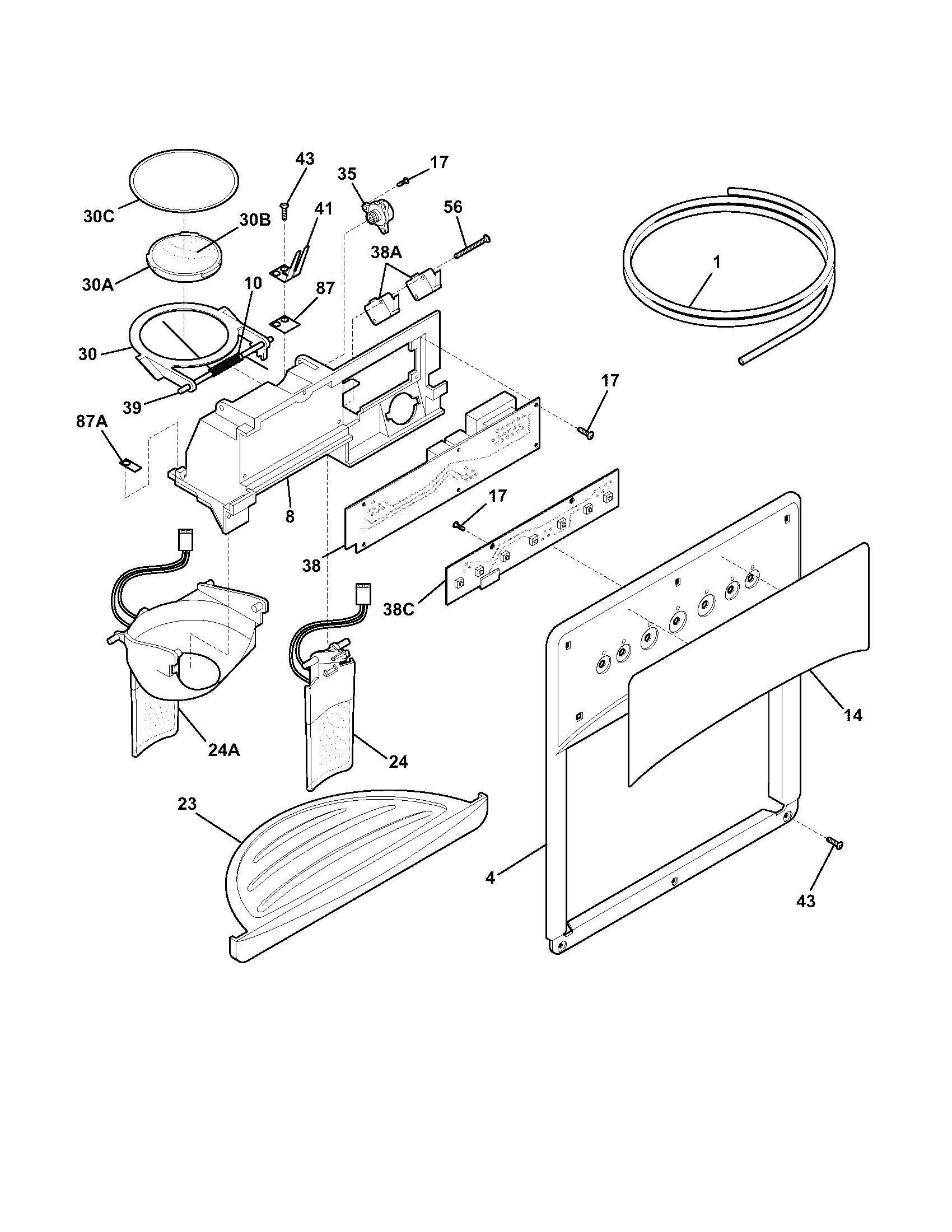 kenmore 25354669403 ice water dispenser diagram [ 1700 x 2200 Pixel ]