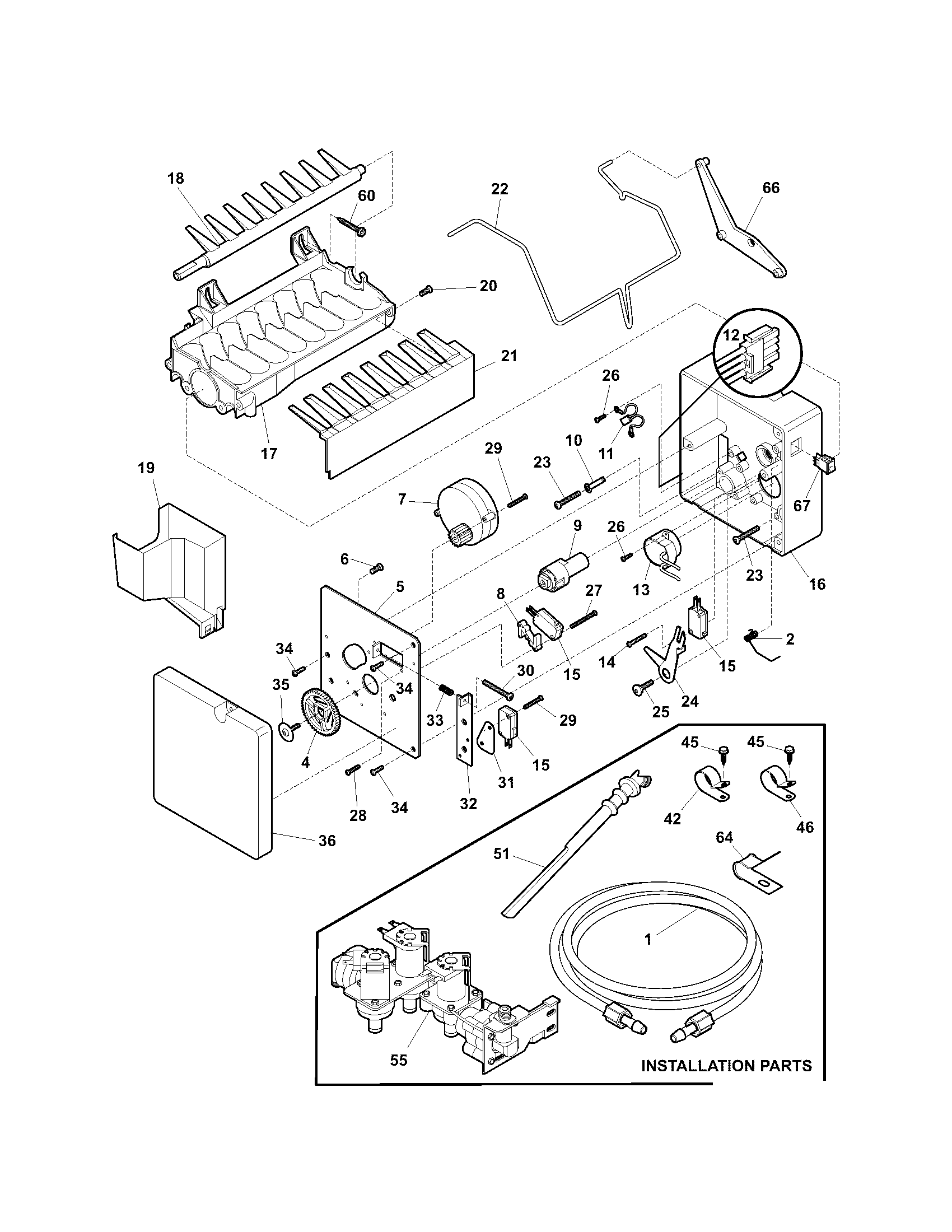 ICE MAKER Diagram & Parts List for Model 25355694403