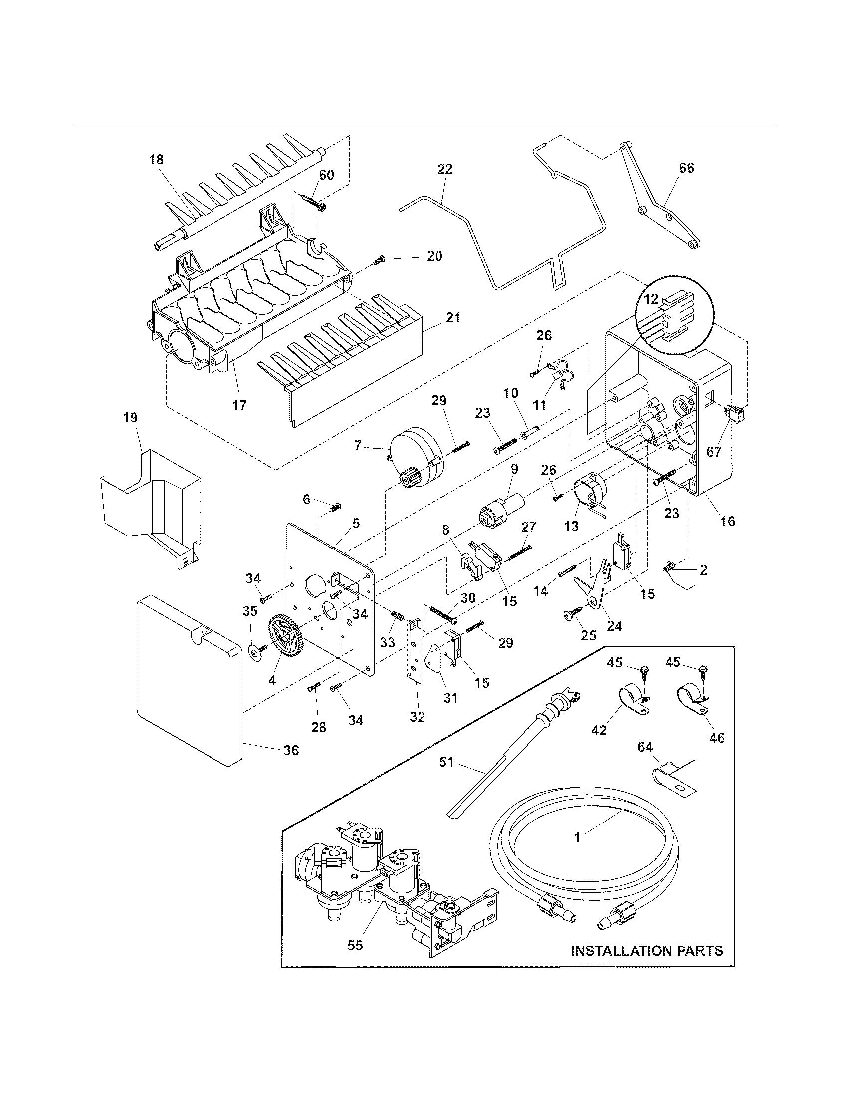 ICE MAKER Diagram & Parts List for Model 25354663405