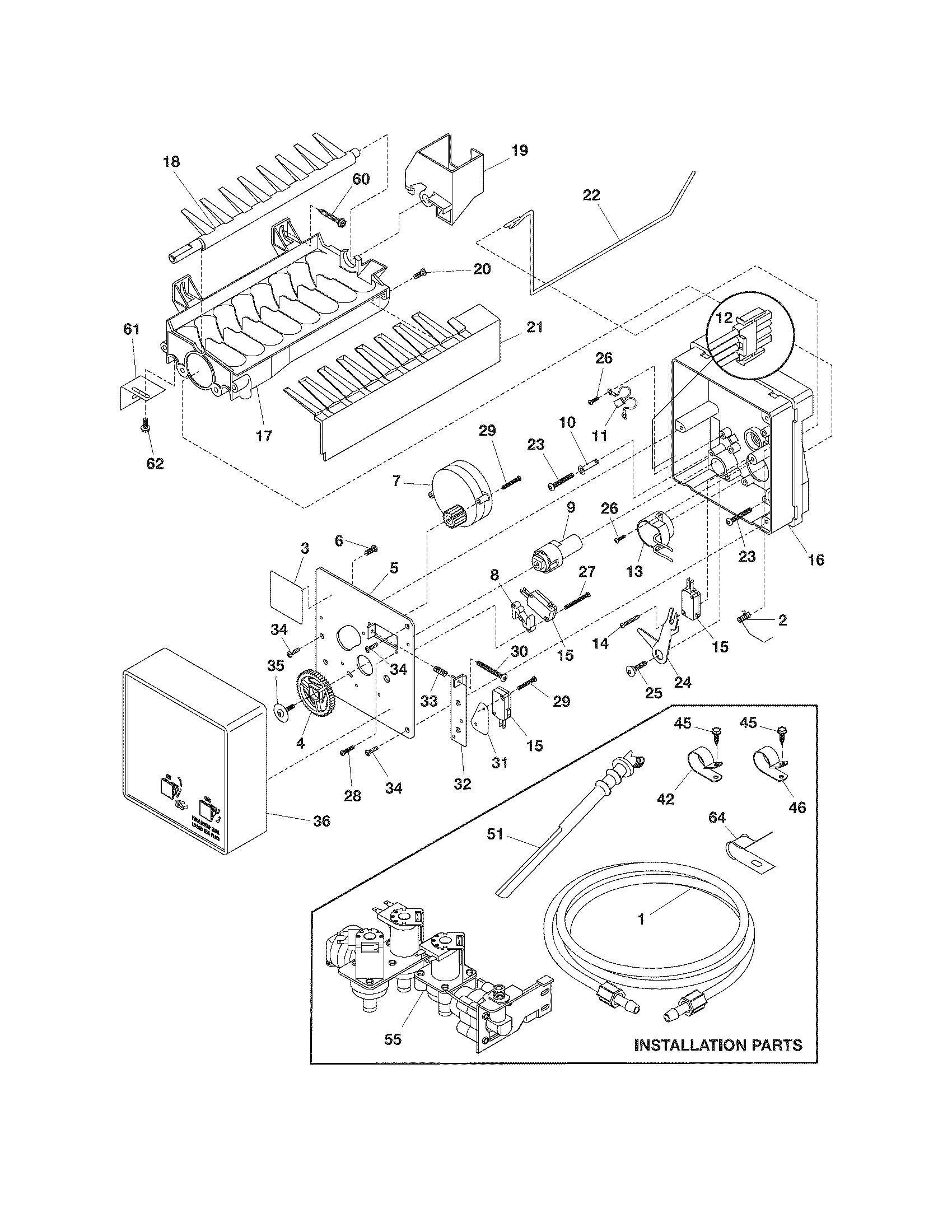 ICE MAKER Diagram & Parts List for Model frs26lf7ds7