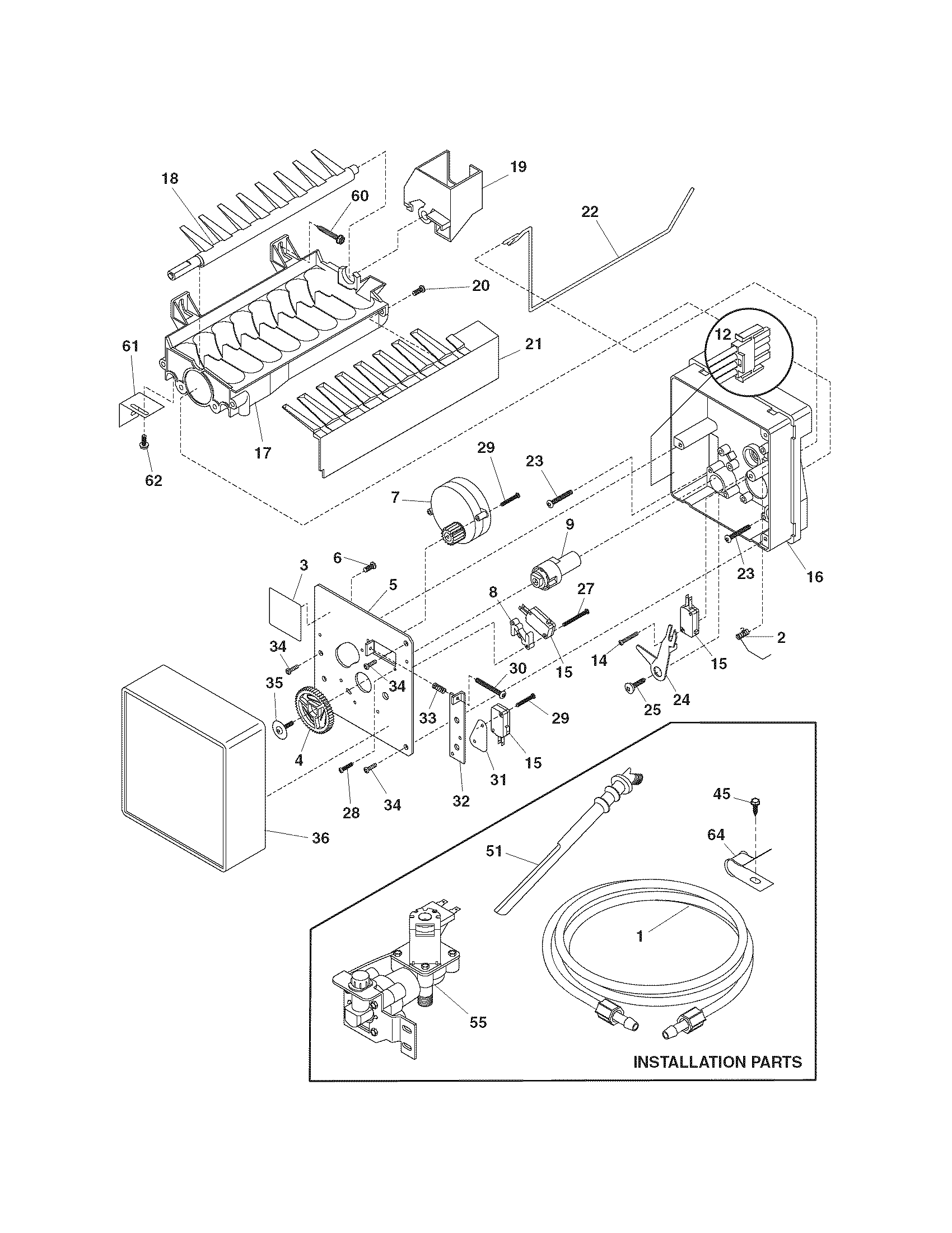 ICE MAKER Diagram & Parts List for Model 25374812404