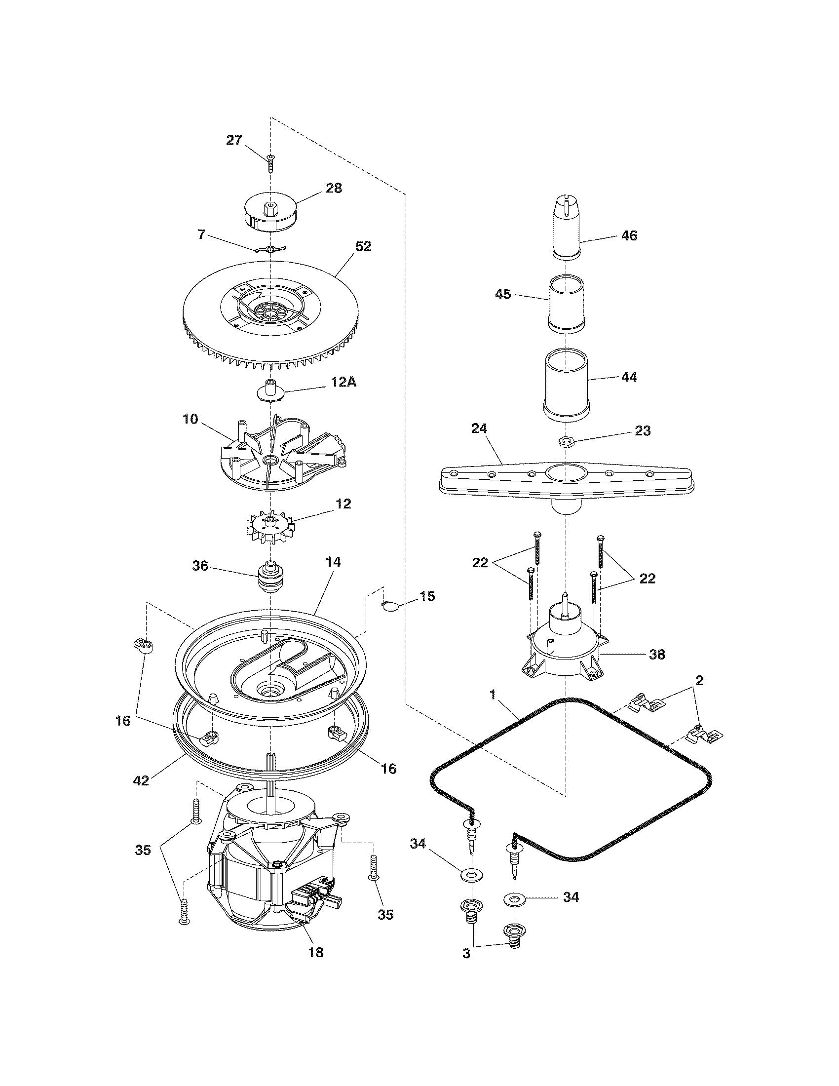 MOTOR & PUMP Diagram & Parts List for Model FDR252RBB2