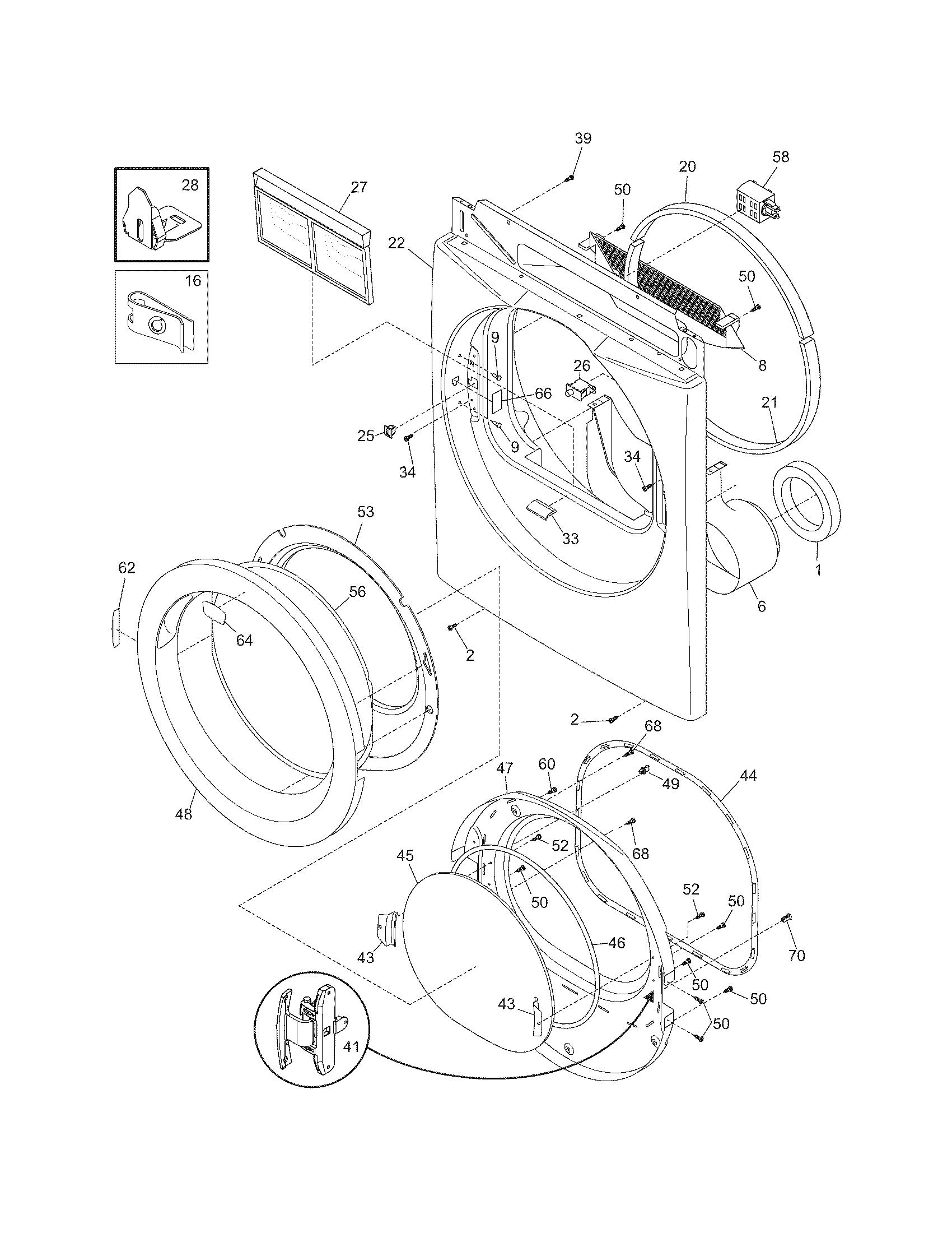 FRONT PANEL/LINT FILTER Diagram & Parts List for Model