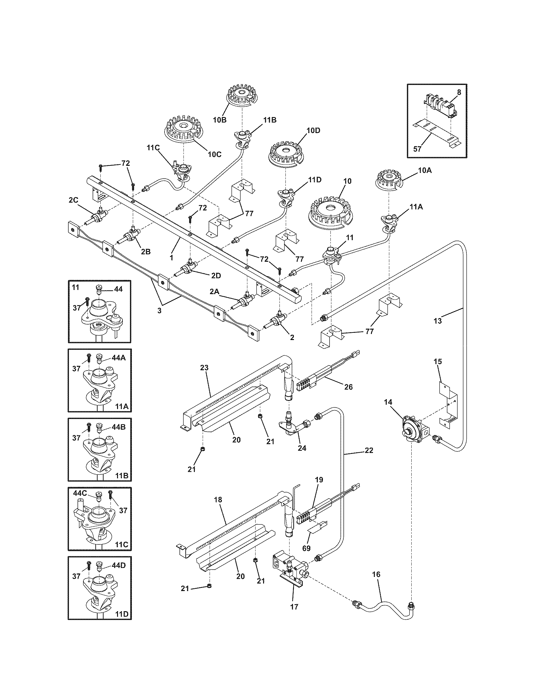 BURNER Diagram & Parts List for Model 79075403501 Kenmore