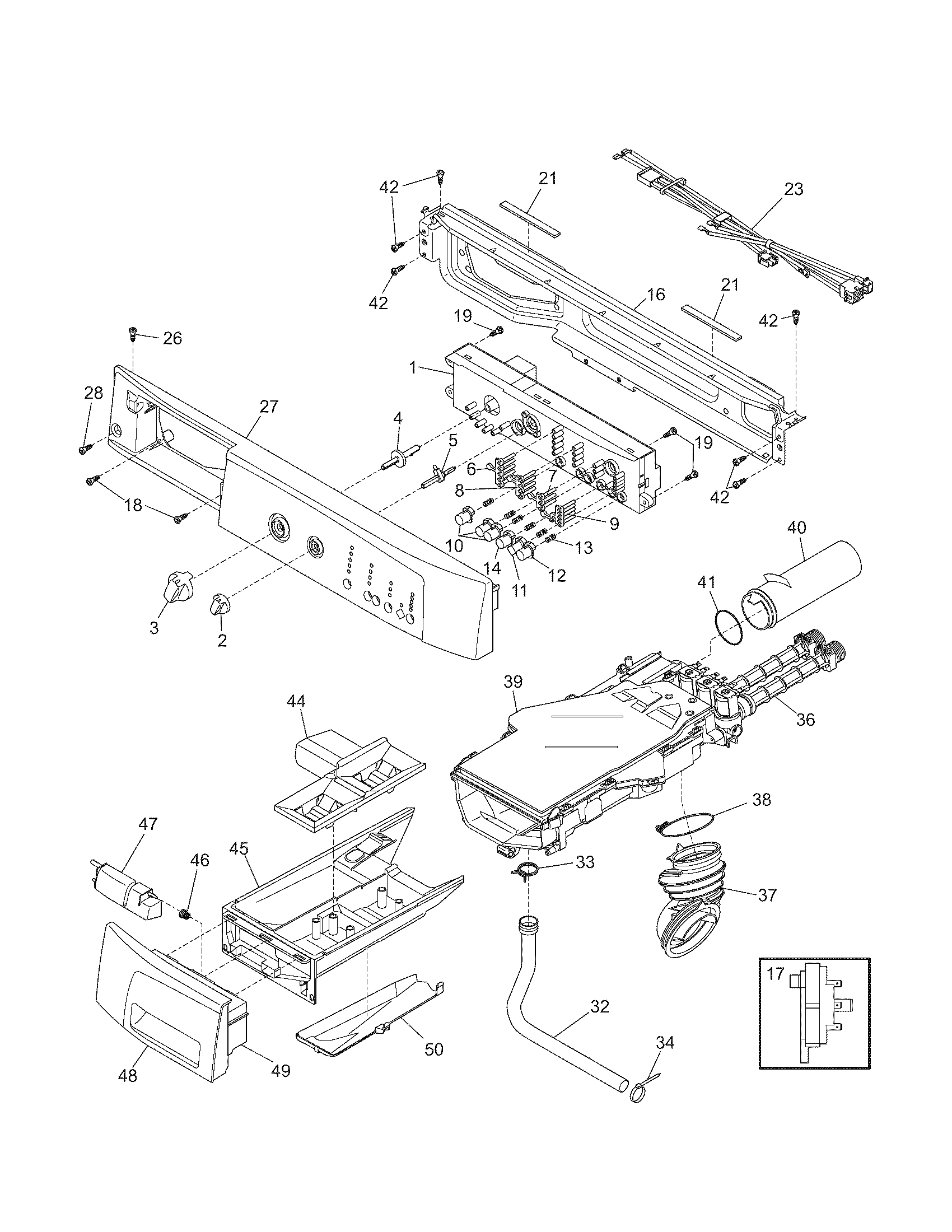 hight resolution of kenmore 41748102701 control panel diagram