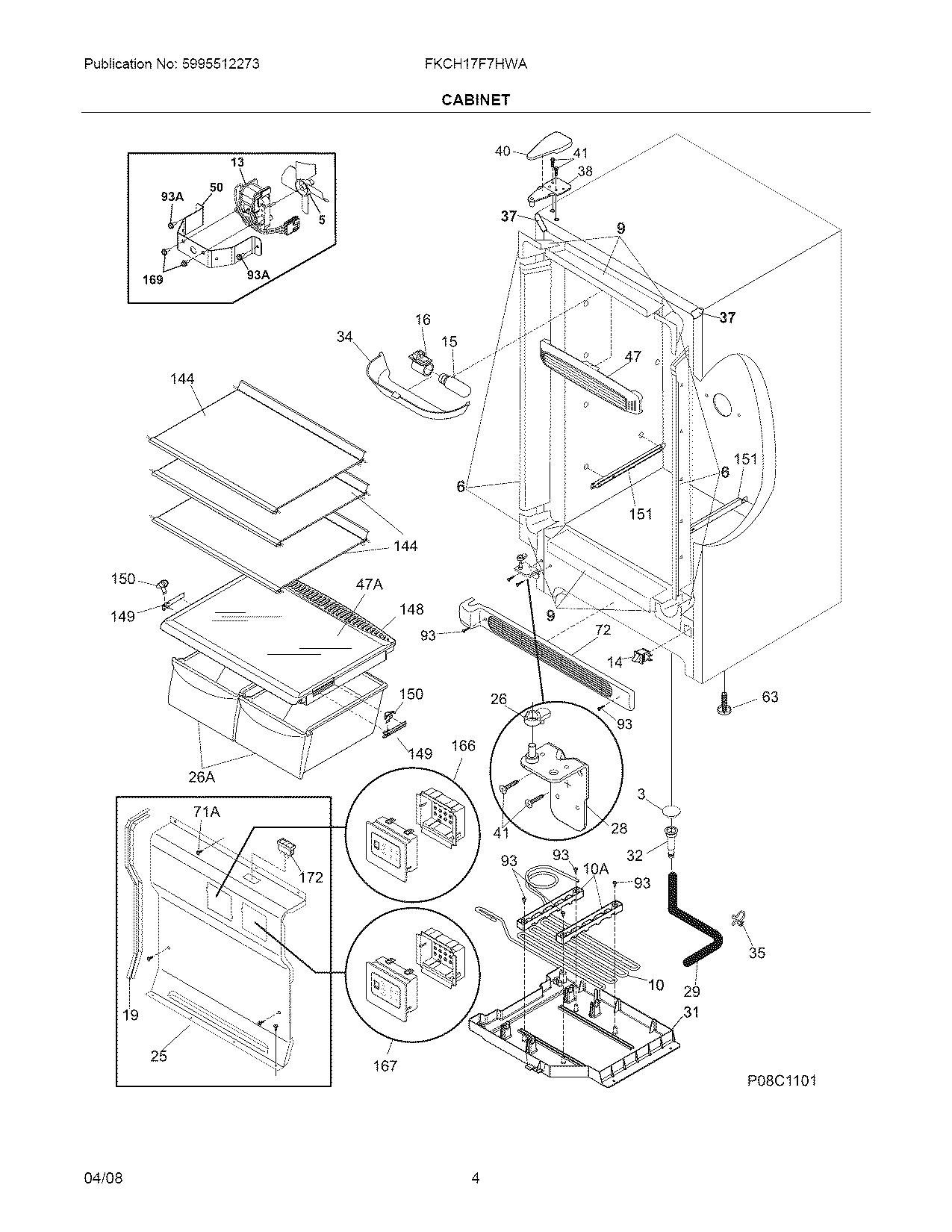 CABINET Diagram & Parts List for Model fkch17f7hwa