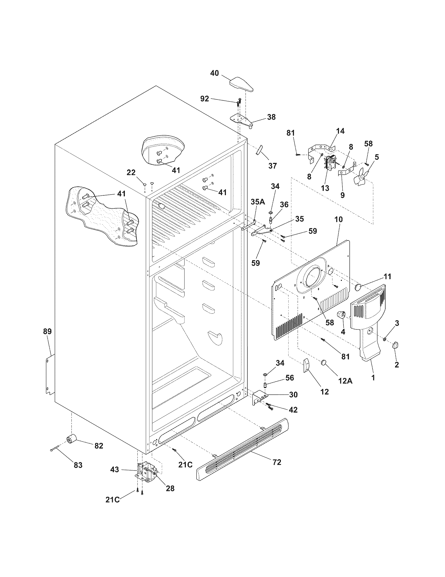 hight resolution of kenmore 2536419440j cabinet diagram