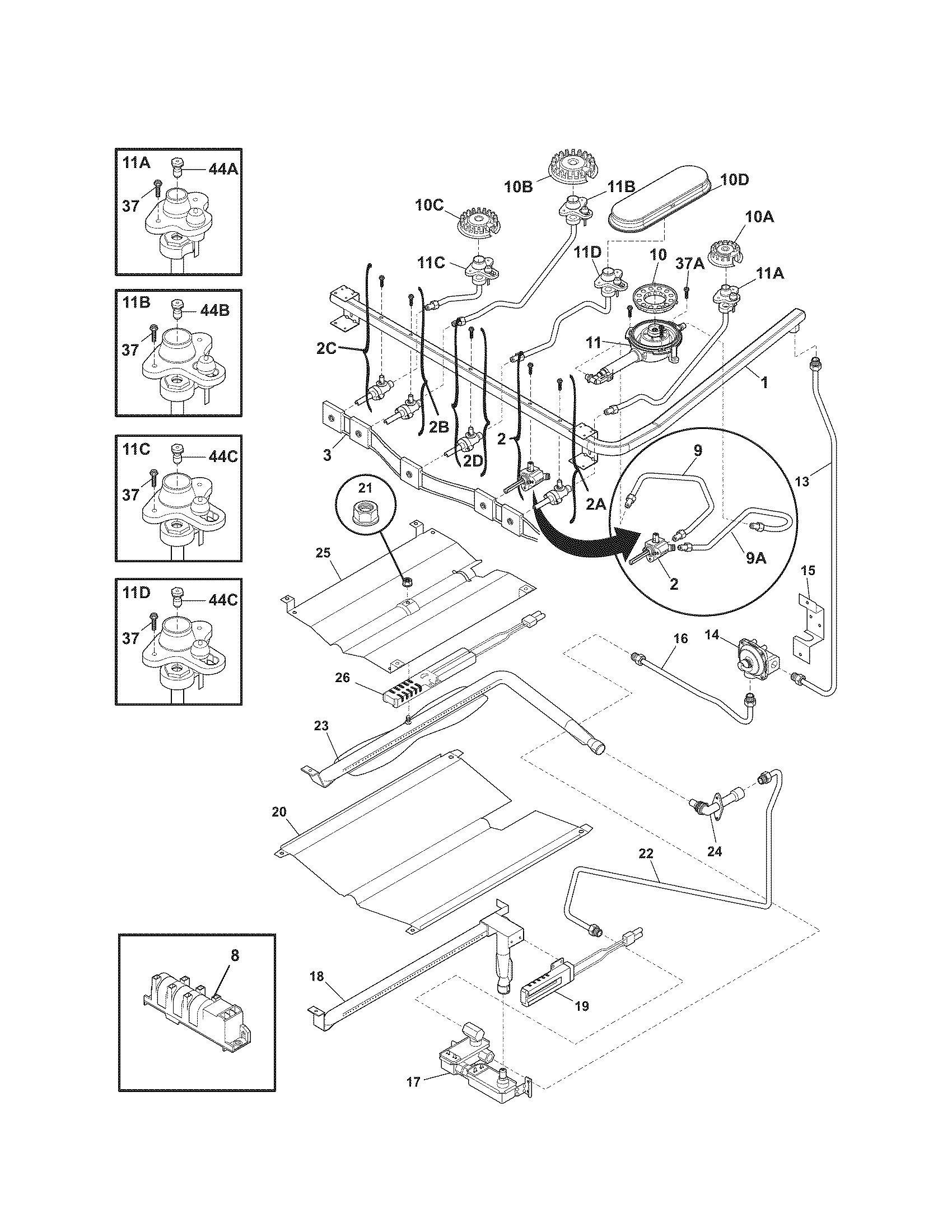 BURNER Diagram & Parts List for Model 79077543803 Kenmore
