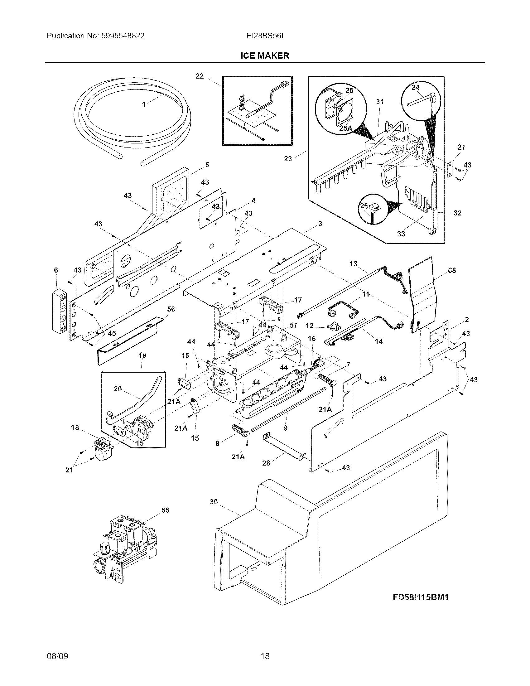 ICE MAKER Diagram & Parts List for Model ei28bs56is0