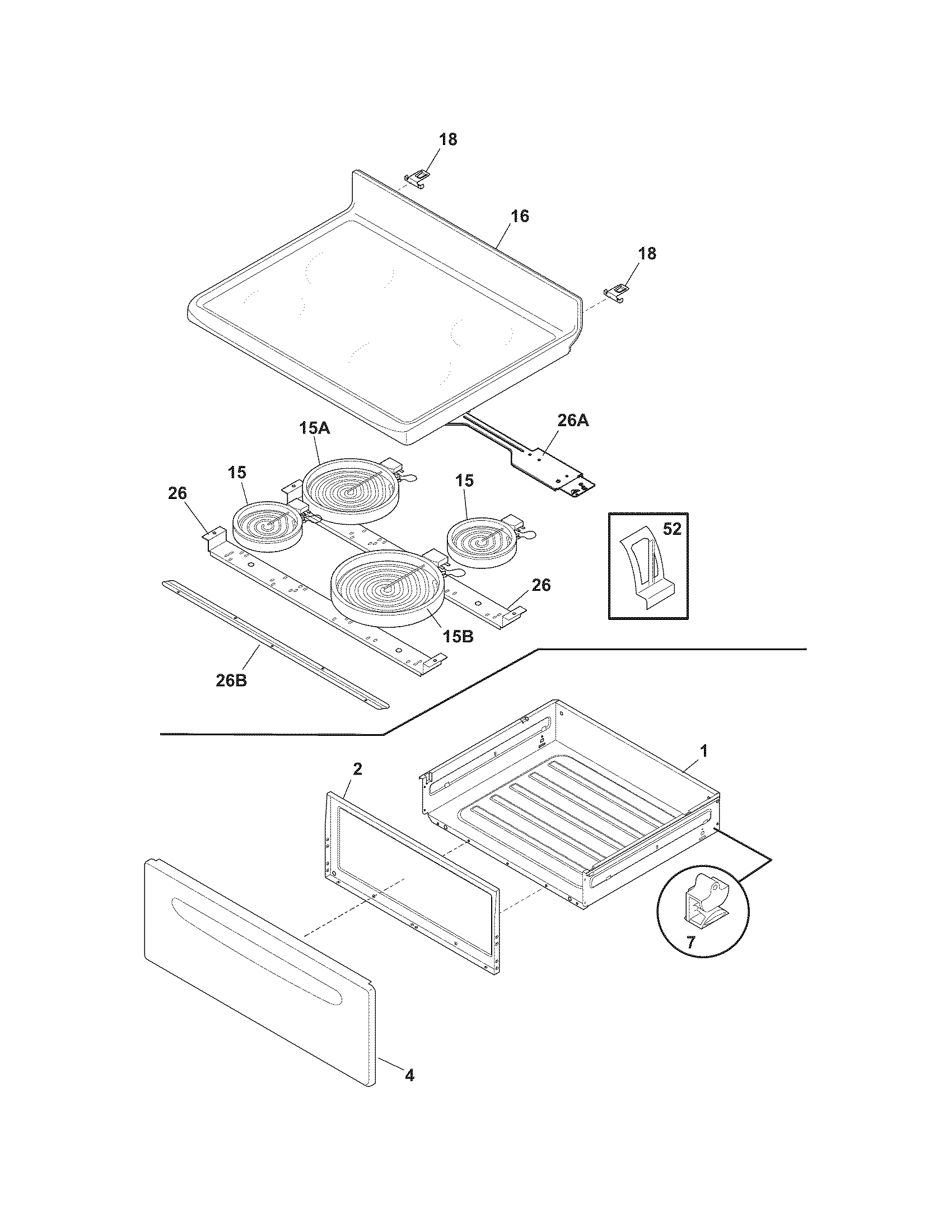 TOP/DRAWER Diagram & Parts List for Model tef361gsd Tappan