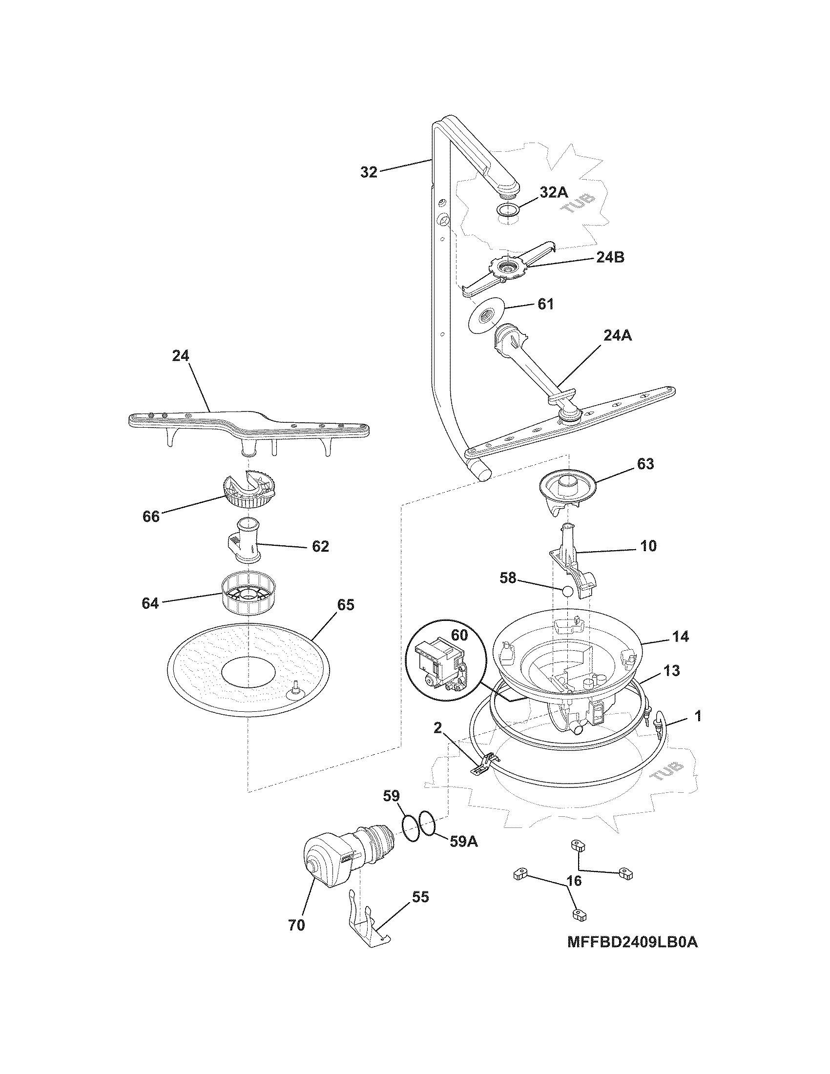 Frigidaire: Frigidaire Dishwasher Parts Diagram