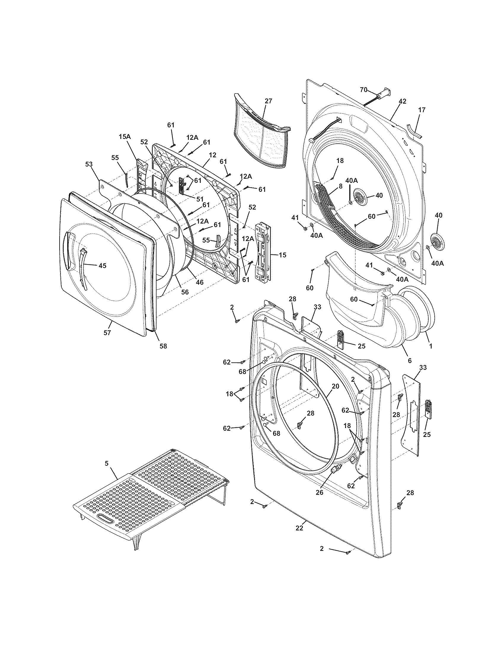 hight resolution of kenmore elite 41791100000 front panel lint filter diagram