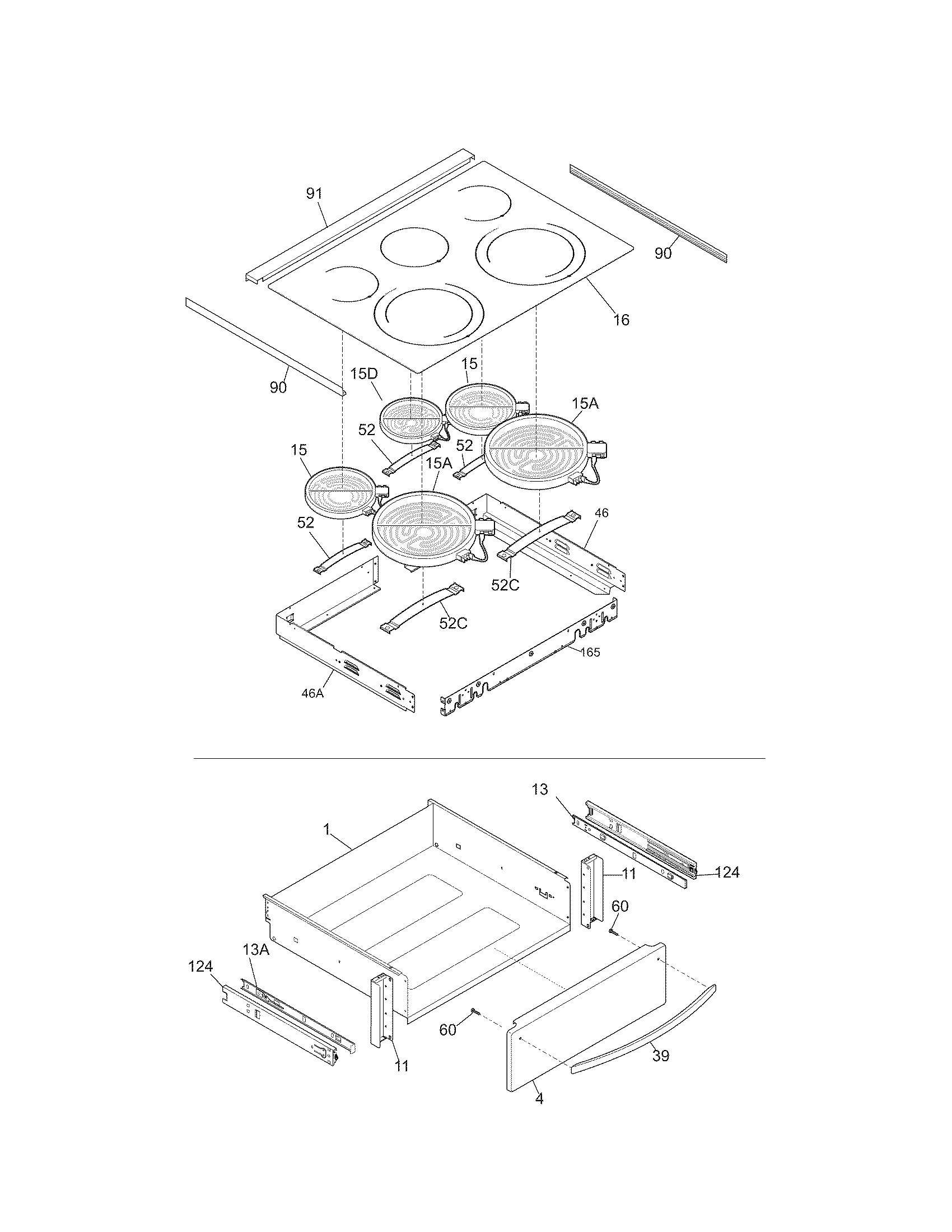 TOP/DRAWER Diagram & Parts List for Model 79041019803