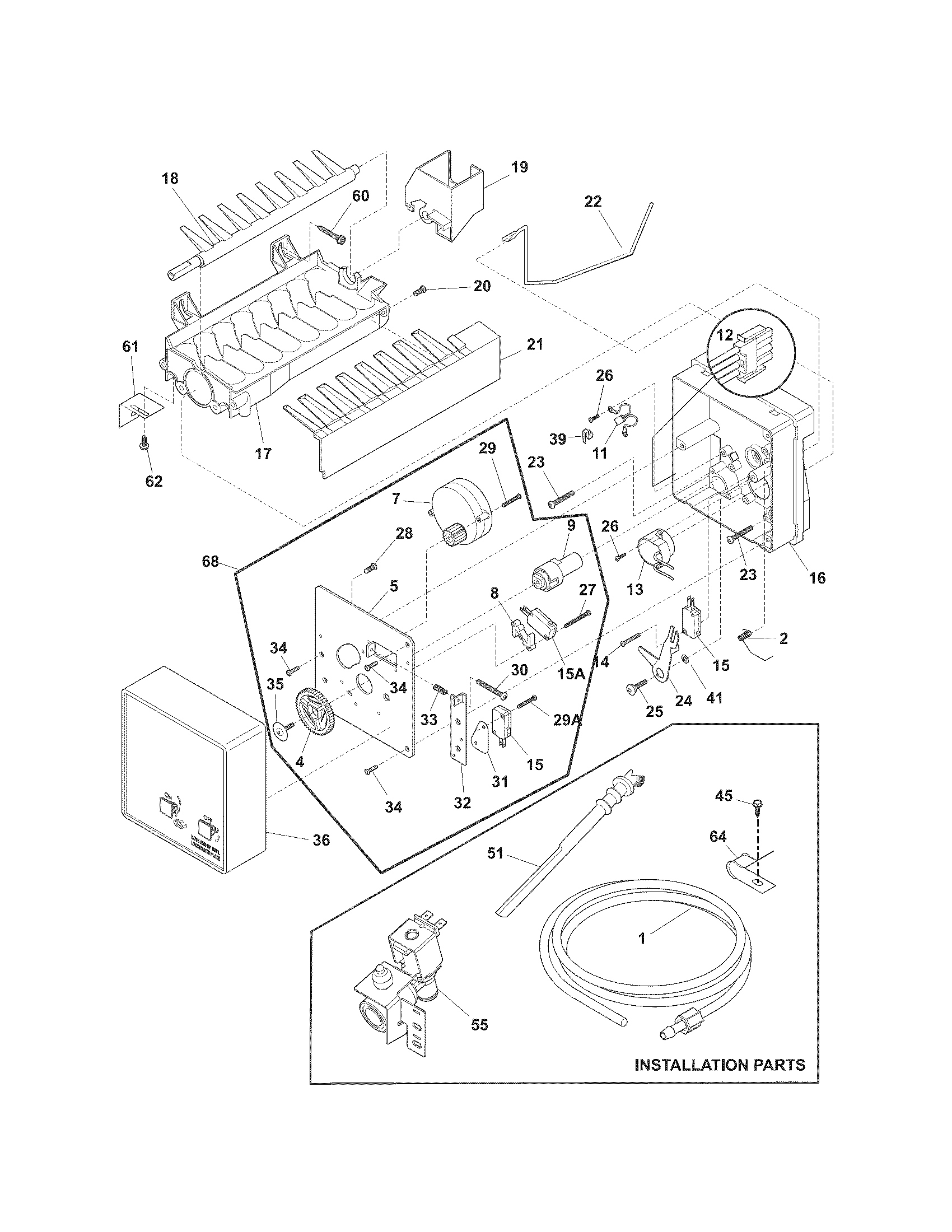 ICE MAKER Diagram & Parts List for Model 25378829012