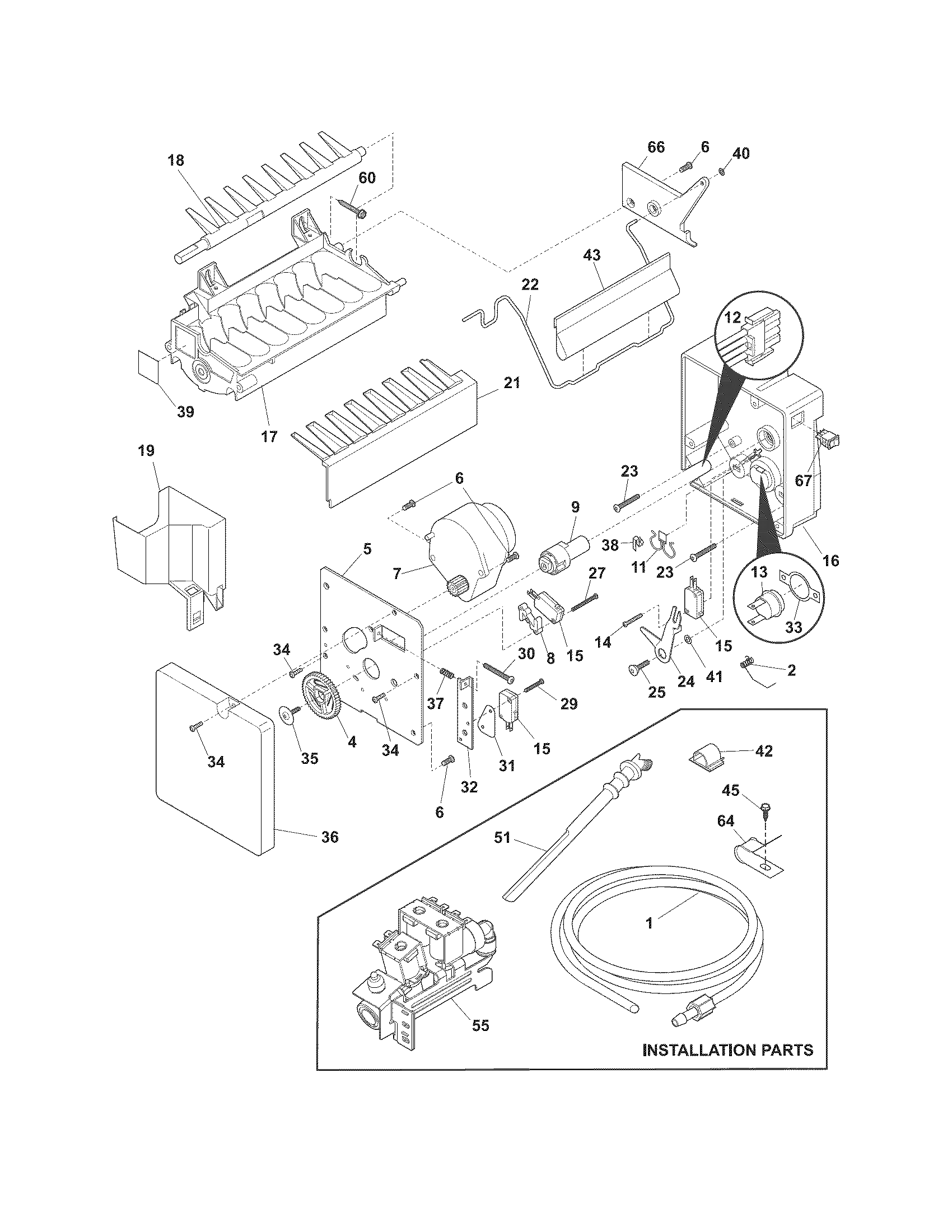 ICE MAKER Diagram & Parts List for Model fghs2631pf3