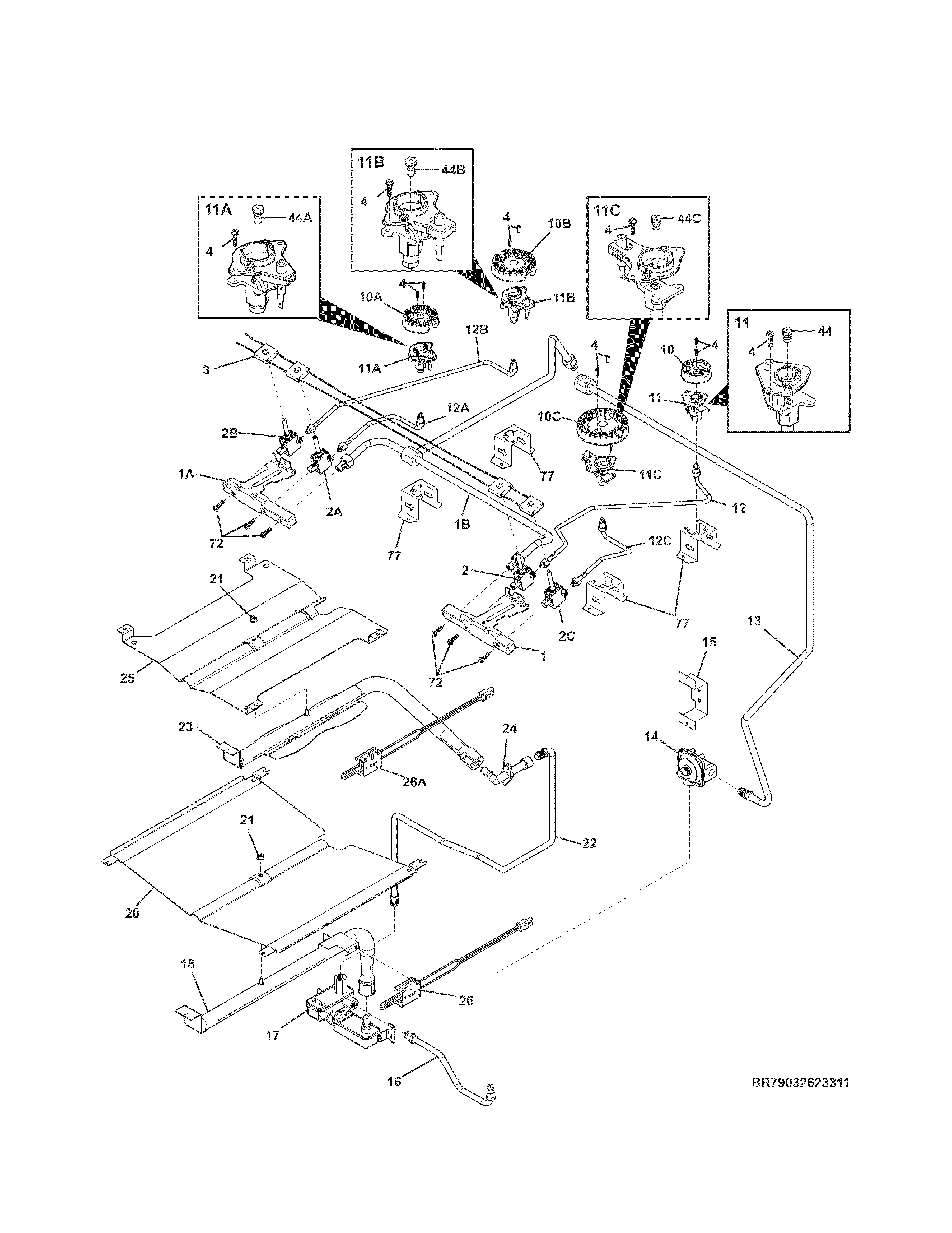 BURNER Diagram & Parts List for Model 79032623311 Kenmore