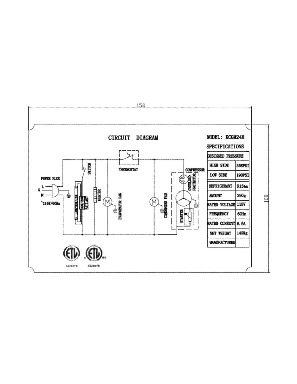 medium resolution of kelvinator model kcgm24rb refrigeration commercial genuine parts whirlpool refrigerator wiring diagrams kelvinator refrigerator wiring diagram
