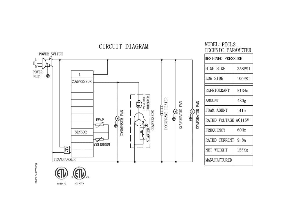 medium resolution of kelvinator model kcpt72 9 refrigeration commercial genuine parts whirlpool refrigerator schematic kelvinator refrigerator wiring diagram