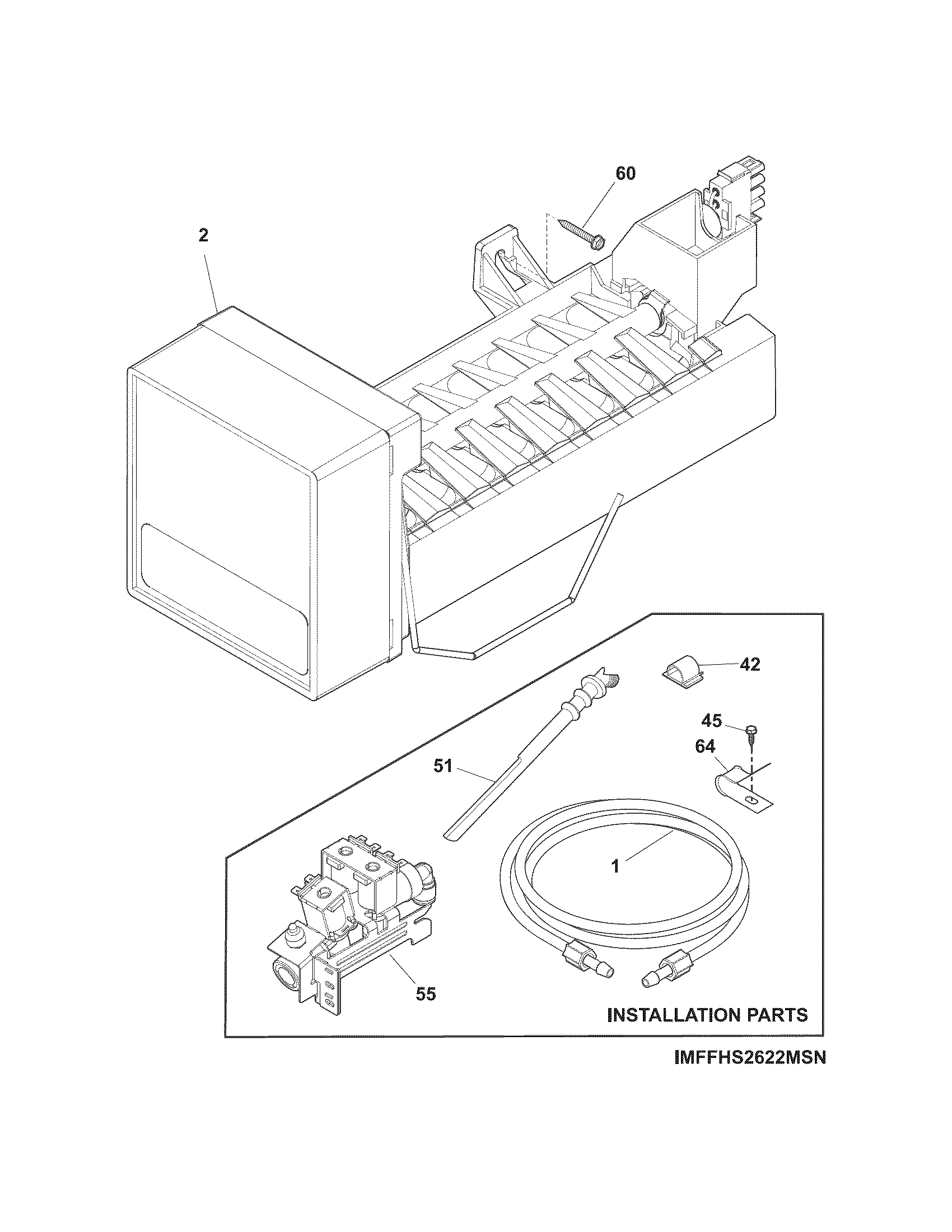 ICE MAKER Diagram & Parts List for Model ffss2614qp1a